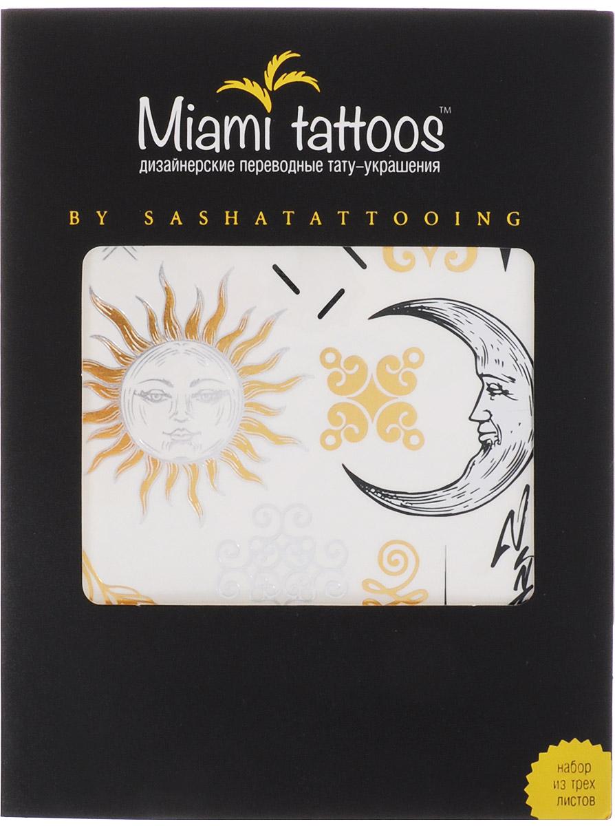 Miami Tattoos Флэш тату Miami Tattoos By Sashatattoing 3 листа 20 см х 15 смMT0001Miami Tattoos - это дизайнерские переводные тату-украшения. Коллекция By SashaTattoing cоздана в сотрудничество с тату-мастером, королевой точечных татуировок Сашей Масюк, больше известную под псевдонимом SashaTattooing. В коллекции любимые узоры мастера – солнце, луна, перья, цветы. В золотом и серебристых цветах они выглядят еще более изящно и нежно. Для производства Miami Tattoos используются только качественные, яркие и стойкие краски. Они не вызывают аллергию и держатся до семи дней!