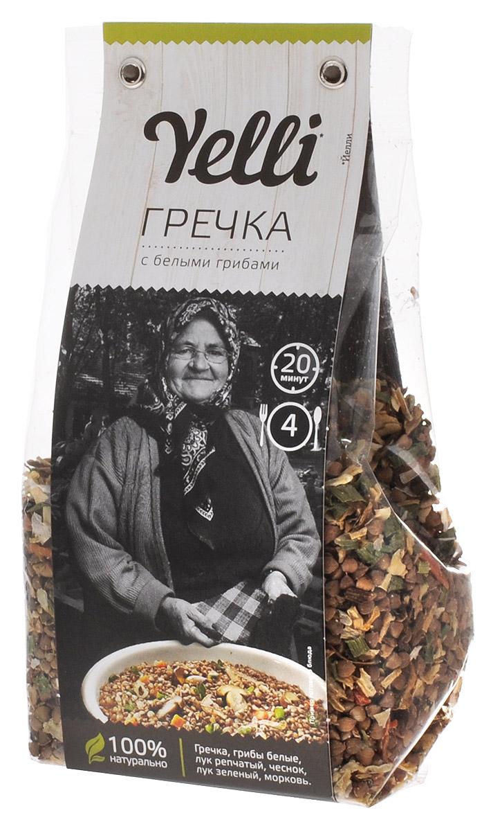 Yelli гречка с белыми грибами, 250 гЕЛ 111/7Гречка с белыми грибами Yelli - это настоящий рецепт русского национального блюда. На Руси гречу заправляли луком, белыми грибами, маслом и рублеными вареными яйцами. Испробовав все возможные варианты, повар признался, что проверенный временем рецепт ему не превзойти. Греча с белыми грибами – это самостоятельное блюдо, не требующее добавления мяса и овощей.