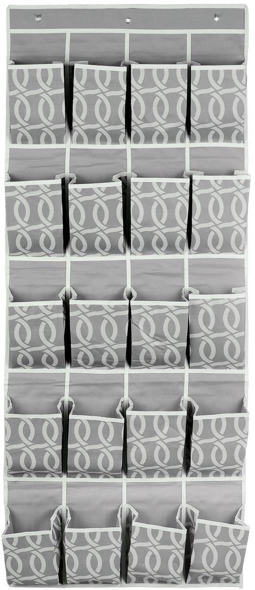 Кофр для хранения Плетение, 20 карманов, 56 х 136 см96515412Кофр для хранения Плетение изготовлен из плотного полиэстера, декорированного оригинальным переплетающимся узором. Кофр имеет 20 объемных карманов для хранения различных бытовых вещей. Верхняя часть изделия снабжена вставкой из картона для прочности конструкции. Изделие подвешивается на перекладину или планку с помощью 3 металлических крючков (входят в комплект). Стильный принт, модный цвет и качество исполнения сделают такой кофр незаменимым для хранения ваших вещей.