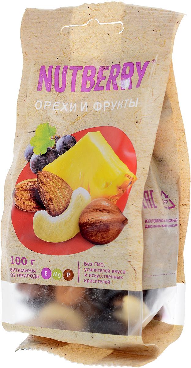 Nutberryсмесьореховифруктов,100г0120710Смесь Орехи и фрукты это идеально сбалансированное сочетание только натуральных компонентов. Благородный вкус темного винограда сорта Томпсон Джамбо идеально дополняет вкусовую композицию миндаля, кешью и фундука, а кусочки натурального, сушеного ананаса придают данной смеси неповторимость.