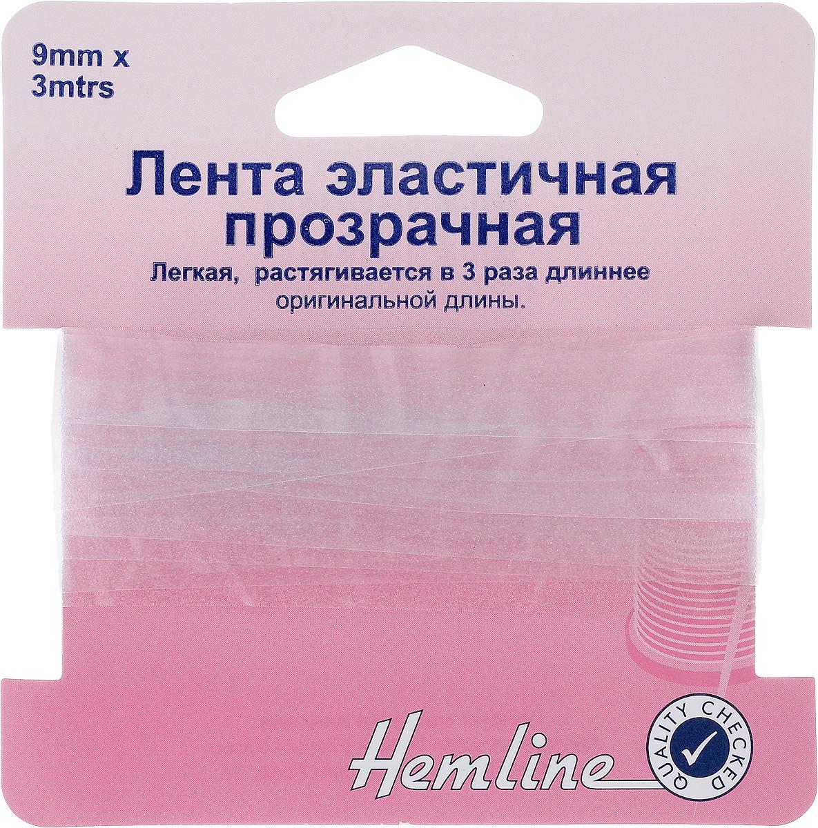Лента эластичная прозрачная Hemline, 0,9 х 300 см09840-20.000.00Прозрачная эластичная лента Hemline, изготовленная из силикона, растягивается в три раза длиннее оригинальной длины. Может использоваться вместо обычной резинки для пристрачивания и образования сборок на прозрачных и тонких тканях.