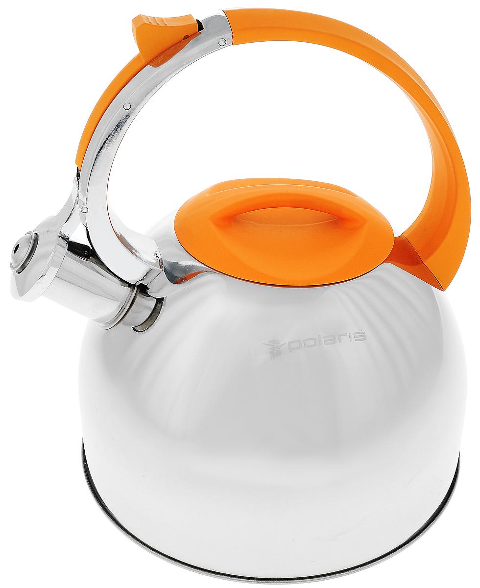 Чайник Sound-3L нерж. сталь 3 л (Polaris), цвет: оранжевыйVT-1520(SR)Высококачественная нержавеющая сталь 18/10Эргономичная ручка из бакелита с покрытием «Soft touch»Крышка из бакелита с покрытием «Soft touch»Чайник оповещает о вскипании мелодичным свистомСвисток открывается кнопкой на ручкеПодходит для всех типов плит Объём: 3л