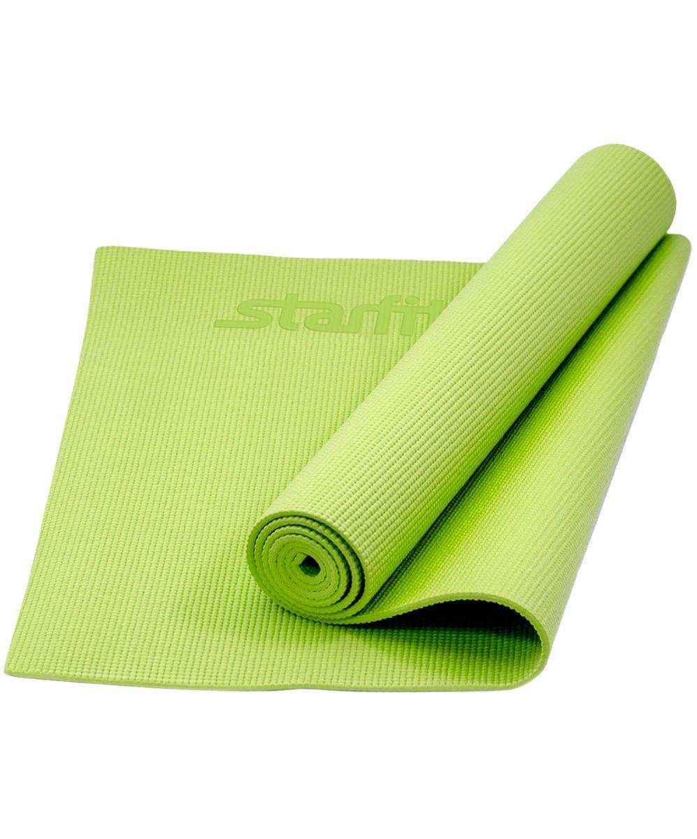 Коврик для йоги Starfit, цвет: зеленый, 173 x 61 x 0,8 смУТ-00008838Коврик для йоги FM-101 - это незаменимый аксессуар для любого спортсмена как во время тренировки, так и во время пре-стретчинга (растяжки до тренировки) и стретчинга (растяжки) после тренировки. Коврик PVC Star Fit используются в фитнесе, йоге, функциональном тренинге. Его используют спортсмены различных видов спорта в своем тренировочном процессе. Люди, занимающиеся медитацией, также делают выбор в пользу Star Fit. Предпочтительно использовать без обуви. Если в обуви, то с мягкой подошвой, чтобы избежать разрыва поверхности коврика. Характеристики: Тип: коврик для йоги и фитнеса Материал: ПВХ Длина, см: 173 Ширина, см: 61 Толщина, см: 0,8 Цвет: зеленый Количество в упаковке, шт: 1 Производитель: КНР