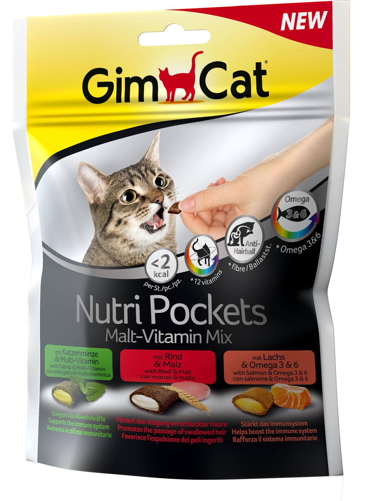 Лакомство для взрослых кошек Gimcat NutriPockets, подушечки, 150 г400693NutriPockets от GimCat — хрустящие подушечки с вкусной и полезной начинкой. Подушечки с пастой Бьюти содержат биотин и цинк, которые делают шерсть более блестящей и здоровой, ускоряют процесс линьки, помогают сделать кожу более эластичной, а когти — более крепкими. C кошачьей мятой и мультивитаминной пастой - содержит 12 жизненно важных витаминов для укрепления естественных защитных сил организма.NutriPockets от GimCat являются дополнительным кормом для кошек.