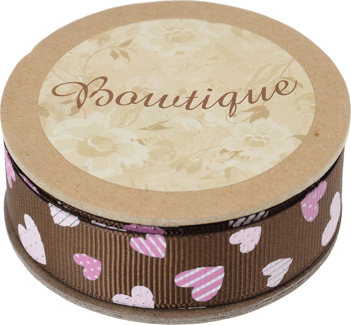 Лента репсовая Hemline Сердечки, цвет: шоколадный, розовый, 2 х 500 смVR20.140Лента на картонной катушке Hemline Сердечки выполнена из полиэстера, она жесткая и хорошо держит форму. Такая лента идеально подойдет для оформления различных творческих работ, может использоваться для скрапбукинга, создания аппликаций, декора коробок и открыток, часто ее применяют при пошиве одежды, сумок, аксессуаров. Лента наивысшего качества практична в использовании. Она станет незаменимым элементом в создании вашего рукотворного шедевра.