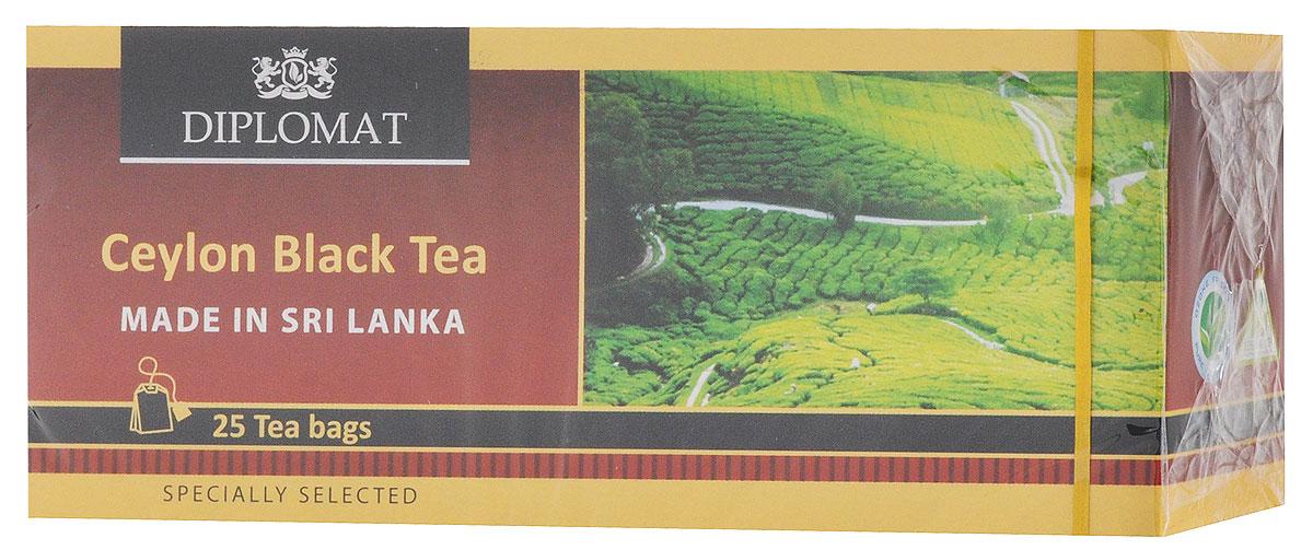 Diplomat Ceylon Black Tea Classic Blend чай черный в пакетиках, 25 шт0120710Diplomat Ceylon Black Tea Classic Blend - черный классический чай. Напиток имеет бархатный вкус, в котором преобладают древесные нотки и послевкусие с цветочными нотками.