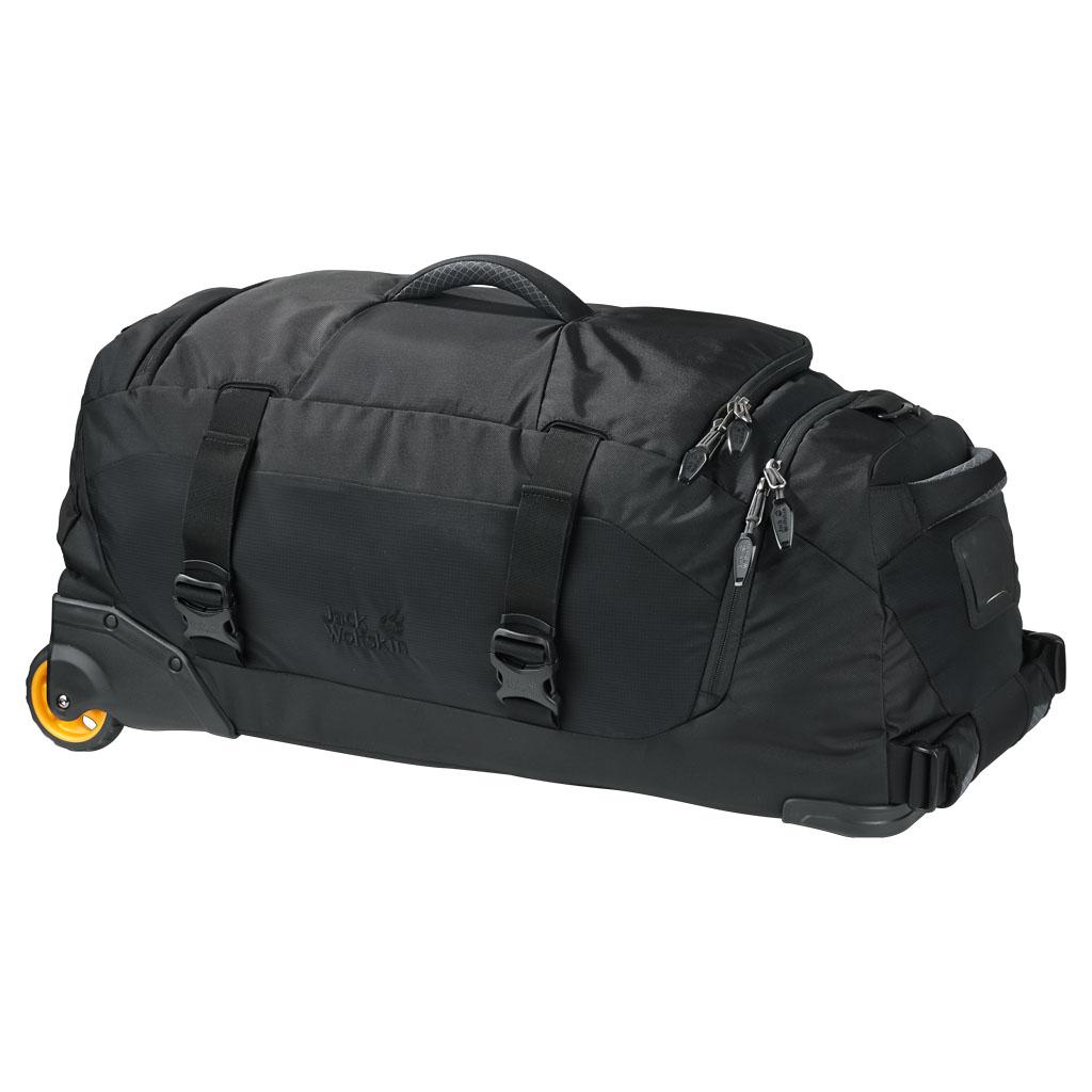 Сумка дорожная на колесах Jack Wolfskin Freight train 60, цвет: черный. 2005101-60002005101-6000Дорожная сумка на колесиках и с подвижной шлевкой. Комфорт в путешествии даже с тяжелым багажом: особенностью дорожной сумки являются два больших прочных колесика. Они справляются даже с неровной поверхностью. Вы можете везти чемодан за собой благодаря комфортной, регулируемой подвижной шлевке или нести его в руках. Кроме того, его удобно передвигать в любом направлении. Вместительное основное отделение удобно открывается и упаковывается благодаря длинной застежке-молнии по периметру. Особенно практично специальное отделение для обуви, благодаря которому ее можно перевозить отдельно от остального багажа, не боясь его запачкать.