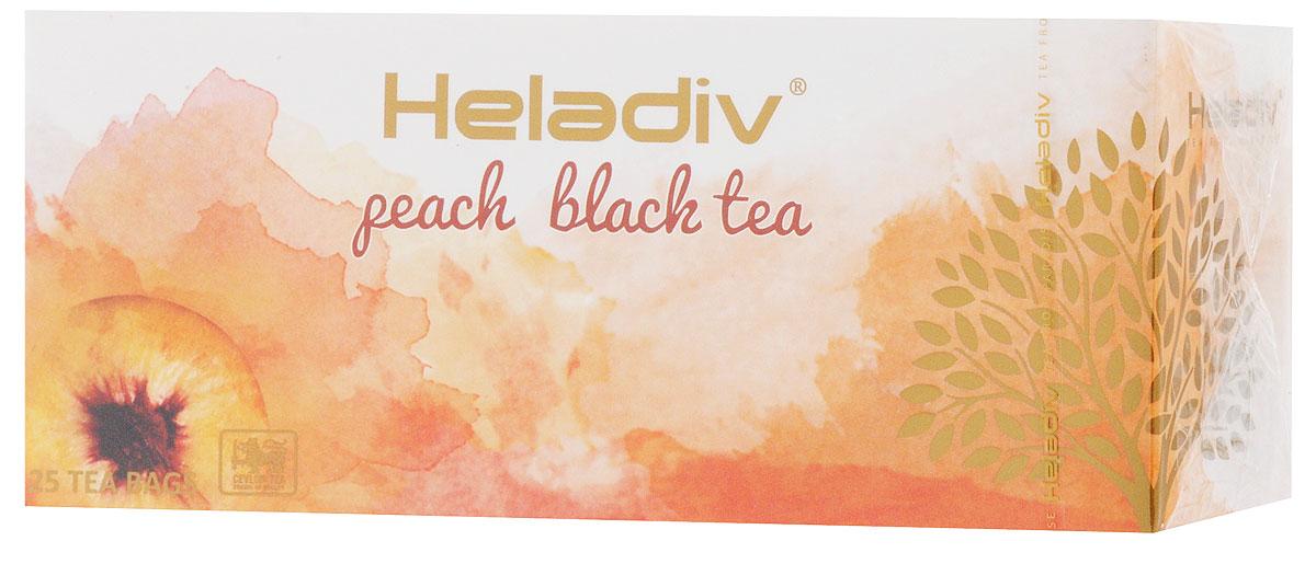 Heladiv Peach чай черный в пакетиках с ароматом персика, 25 шт0120710Сочетание элитного цейлонского чая с ароматом персика в Heladiv Peach подарит вам незабываемое ощущение легкости. Пакетированный черный чай Heladiv обладает приятным вкусом, насыщенным ароматом персика и ярким настоем.