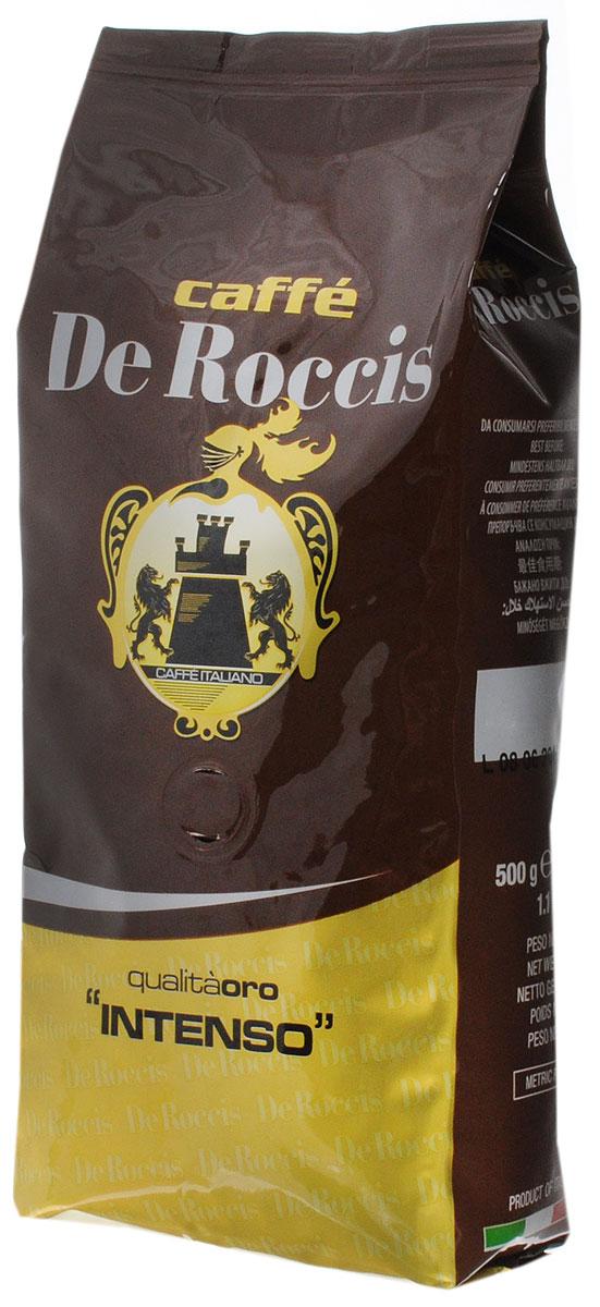 De Roccis Oro Intenso кофе в зернах, 500 г8016115000295De Roccis Oro Intenso - кофейная смесь, наделяющая эспрессо глубоким вкусом, а специальная обжарка придает напитку незабываемый насыщенный аромат.