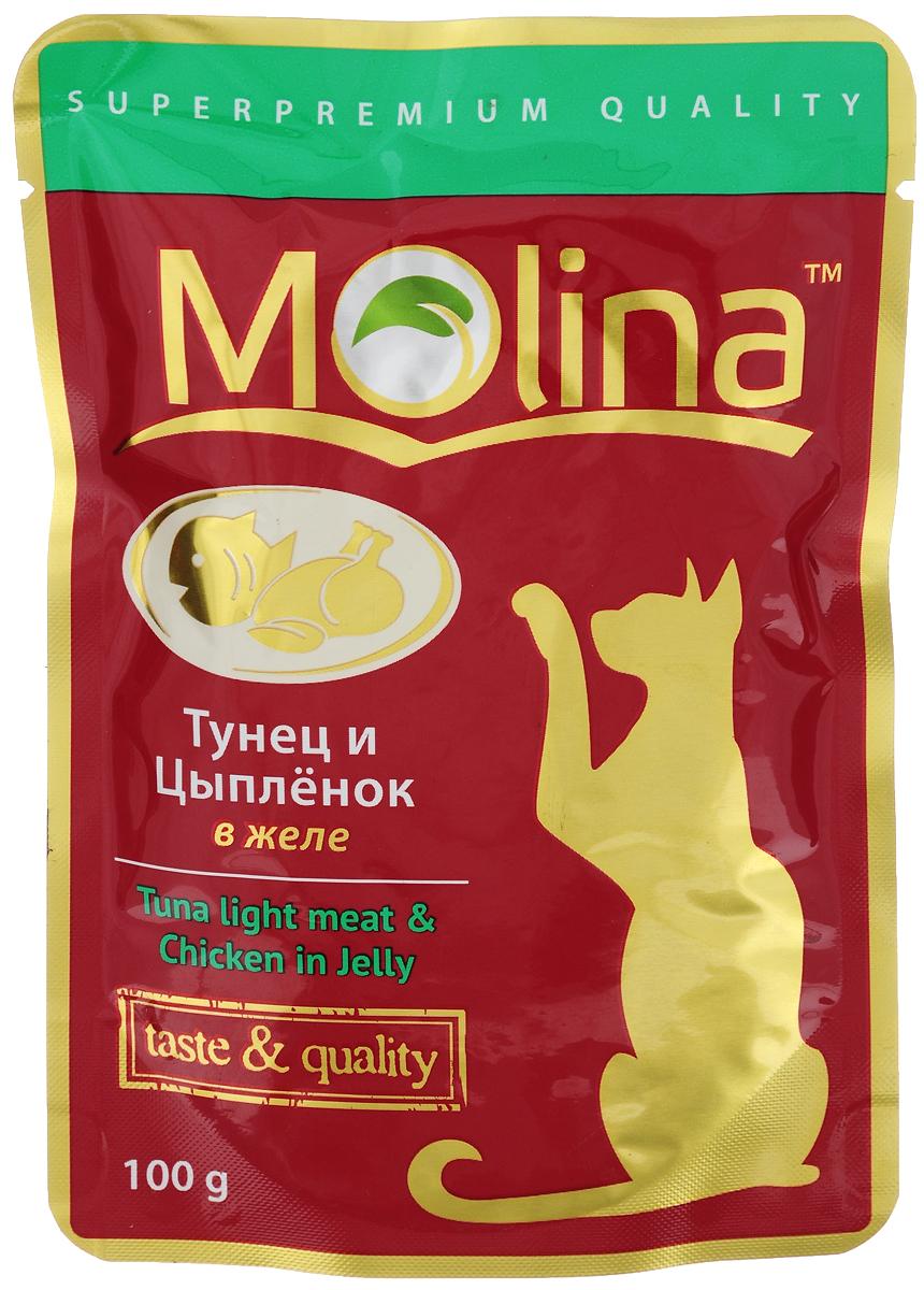Консервы для кошек Molina, с тунцом и цыпленком в желе, 100 г4620002671075Консервы для кошек Molina - это высококачественный, сбалансированный, натуральный продукт, который содержит все необходимые компоненты, обеспечивающие организм ваших питомцев энергией, витаминами и минеральными веществам, необходимыми для здорового роста и развития. Консервы изготовлены из натурального мяса цыпленка и тунца в желе. Консервы Molina - польза натуральных ингредиентов для долгой и здоровой жизни вашего питомца. Товар сертифицирован.