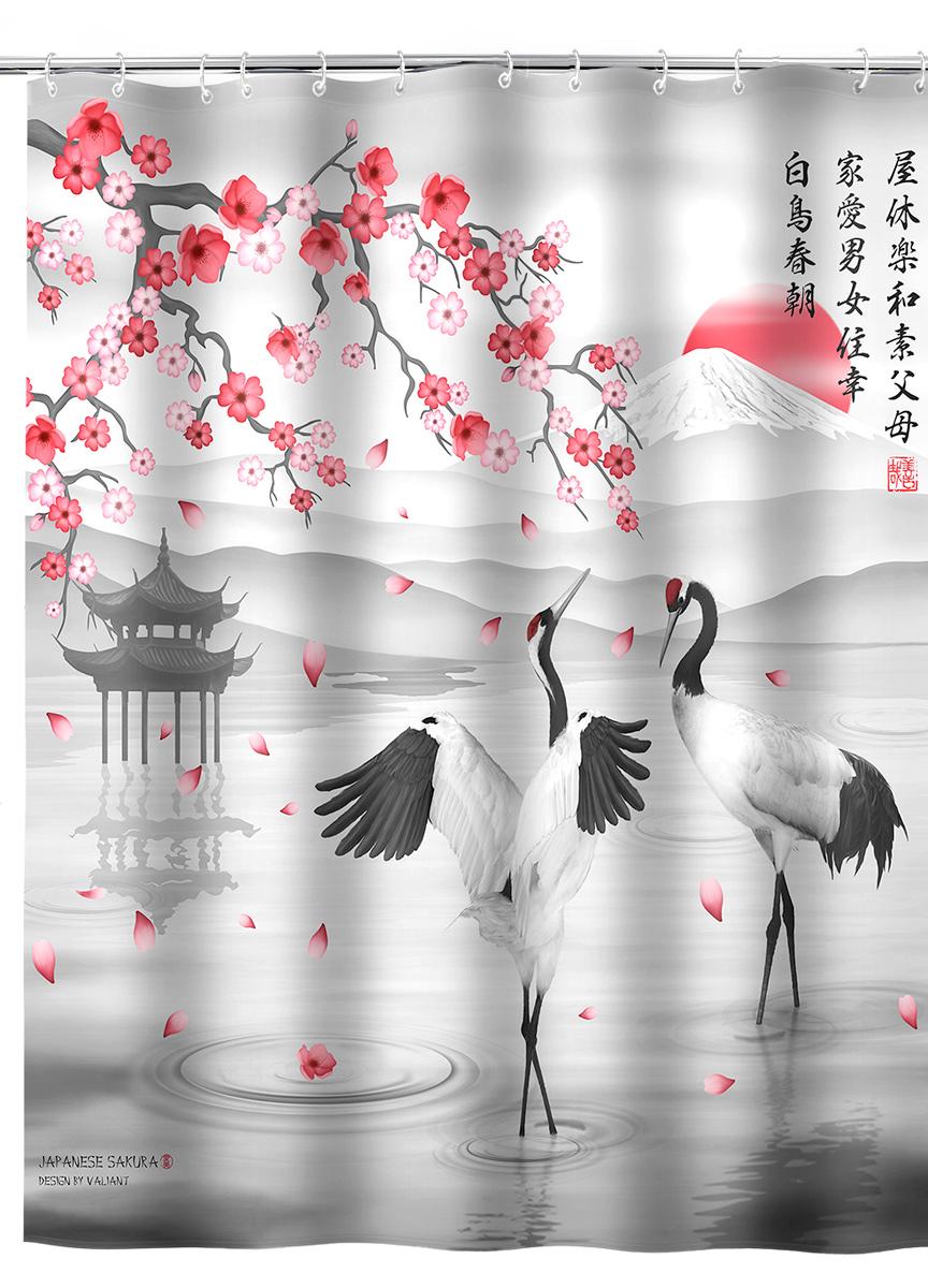 Штора для ванной комнаты Valiant Japanese Sakura, 180 х 180 смJAP-S-1818Штора для ванной комнаты Valiant Japanese Sakura, изготовленная из полиэстера, приятна на ощупь, устойчива к разрывам и проколам, не пропускает воду. Она надежно защитит от брызг и капель пространство вашей ванной комнаты в то время, пока вы принимаете душ, а привлекательный дизайн шторы наполнит вашу ванную комнату положительной энергией.