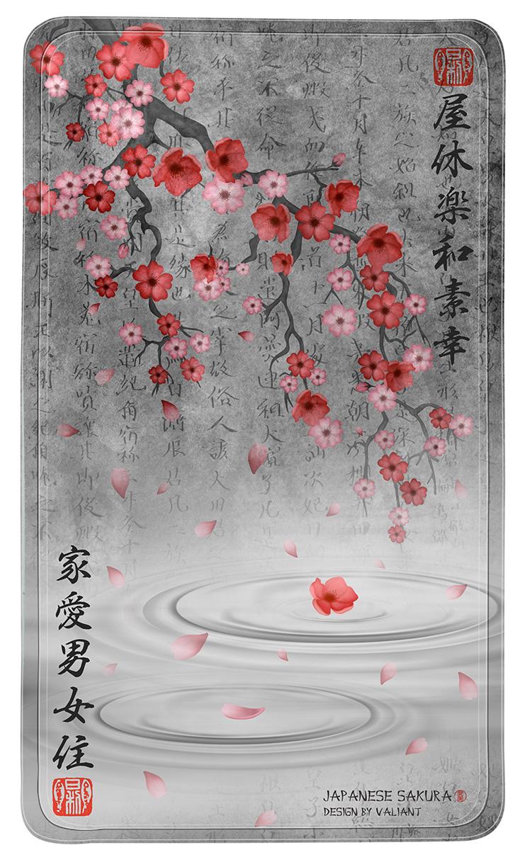 Коврик для ванной Valiant Japanese Sakura, противоскользящий, на присосках, цвет: серый, розовый, 69 х 40 смJAP-S-64Коврик для ванной Valiant Japanese Sakura изготовлен из винила. Это прочный противоскользящий материал, который отлично подойдет для помещений с повышенной влажностью. Коврик противоскользящий, поэтому его удобно использовать в душевой кабине или ванне. Крепится к поверхности при помощи присосок. Легко моется и не оставляет следов.