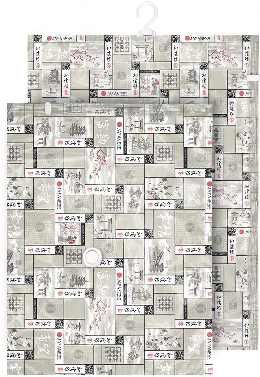 Набор чехлов для вакуумного хранения Valiant Japanese White, 105 х 70 см, 90 х 70 см, 2 шт10503Набор Valiant Japanese White состоит из двух чехлов для вакуумного хранения, которые помогут существенно сэкономить место в шкафу. Вещи сжимаются в объеме на 80%, полностью сохраняя свое качество. Хранить их можно в течение целого сезона (осенью и зимой - летний гардероб, летом - зимние свитера, шарфы, теплые одеяла). Чехлы также защищают вещи от любых повреждений - влаги, пыли, пятен, плесени, моли и других насекомых, а также от обесцвечивания, запахов и бактерий. Откачать воздух можно любым стандартным пылесосом (отверстие клапана 27 мм) за 30 секунд. Чехлы закрываются на замок zip-lock. Не подходят для изделий из меха и кожи.Размер чехлов: 105 х 70 см, 90 х 70 см.
