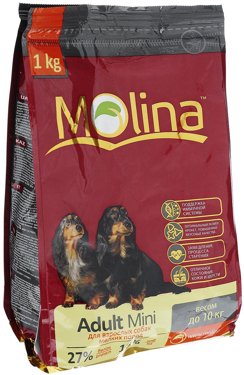 Корм сухой Molina Adult Mini для взрослых собак мелких пород, 1 кг4680265000920Полнорационный сухой корм Molina Adult Mini предназначен для взрослых собак мелких пород весом до 10 кг. Специальный комплекс витаминов и антиоксидантов способствует поддержанию иммунитета, замедляет процесс старения и защищает от последствий стресса. Содержание жирных кислот Омега-6 и Омега-3 обеспечивает правильное развитие нервной системы и отличное состояние кожи и шерсти. Вкусовая формула и состав корма позволяют оптимально усваивать питательные вещества. Товар сертифицирован.