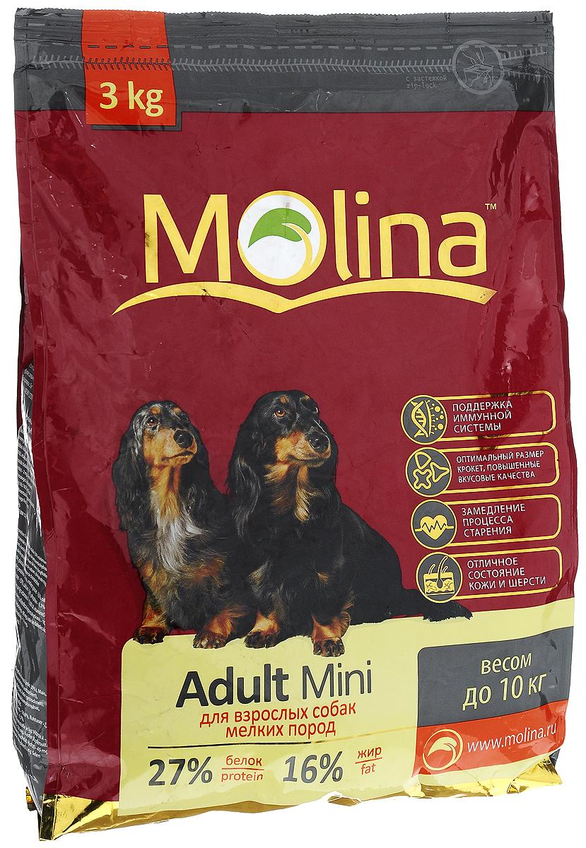 Корм сухой Molina Adult Mini для взрослых собак мелких пород, 3 кг4680265000937Полнорационный сухой корм Molina Adult Mini предназначен для взрослых собак мелких пород весом до 10 кг. Специальный комплекс витаминов и антиоксидантов способствует поддержанию иммунитета, замедляет процесс старения и защищает от последствий стресса. Содержание жирных кислот Омега-6 и Омега-3 обеспечивает правильное развитие нервной системы и отличное состояние кожи и шерсти. Вкусовая формула и состав корма позволяют оптимально усваивать питательные вещества. Товар сертифицирован.