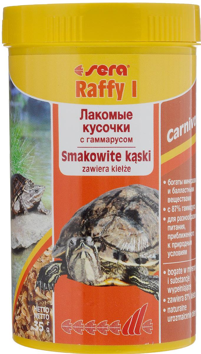 Корм для водных черепах и ящериц Sera Raffy I, 250 мл (35 г)16014Корм для водных черепах и ящериц Sera Raffy I - это лакомство, состоящее из натурального гаммаруса, маленьких рыбок и криля, высушенных целиком. Идеальный корм для небольших плотоядных рептилий и амфибий (например, водяных черепах, аксолотлей). Корм богат минералами, микроэлементами и балластными веществами, содержит более 4% кальция - основы для здорового роста костей и панциря. Товар сертифицирован.
