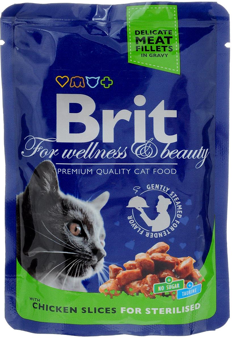 Консервы для стерилизованных кошек Brit Premium, с курицей, 100 г8595602506033Консервы для стерилизованных кошек Brit Premium - влажный корм класса премиум для кастрированных котов и стерилизованных кошек. Не содержит красителей, консервантов, сахара. Аналитический состав: белки 8,5%, жиры 3%, зола 2,5%, клетчатка 0,4%, влага 82%. Питательные добавки (на 1 кг): витамины D3 250 МЕ, витамин Е 100 мг, цинк 10 мг, марганец 2 мг, йод 0,7 мг, медь 0,2 мг, таурин 450 мг, биотин 0,1 мг. Энергетическая ценность: 68 ккал/100 г. Товар сертифицирован.