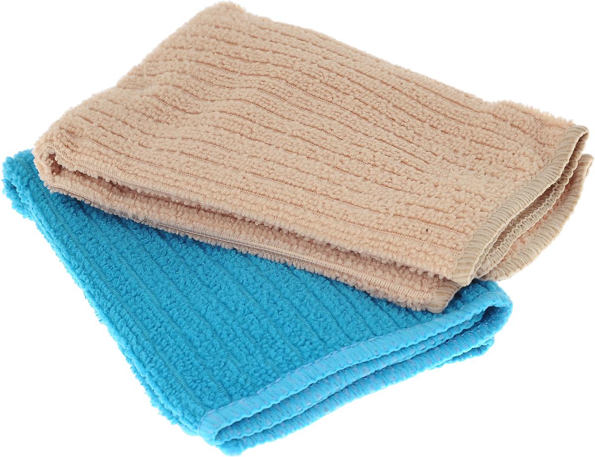 Салфетка из микрофибры Home Queen, цвет: бирюзовый, песочный, 30 х 30 см, 2 штU110DFСалфетка Home Queen изготовлена из микрофибры. Это великолепнаягипоаллергенная ткань, изготовленная из тончайших полимерных микроволокон.Салфетка из микрофибры может поглощать количество пыли и влаги, в 7 разпревышающее ее собственный вес. Многочисленные поры междумикроволокнами, благодаря капиллярному эффекту, мгновенно впитывают воду,подобно губке. Благодаря мелким порам микроволокна, любые капельки,остающиеся на чистящей поверхности, очень быстро испаряются, и остаетсячистая дорожка без полос и разводов. В сухом виде при вытирании поверхностиволокна микрофибры электризуются и притягивают к себе микробы, мельчайшиечастицы пыли и грязи, удерживая их в своих микропорах.