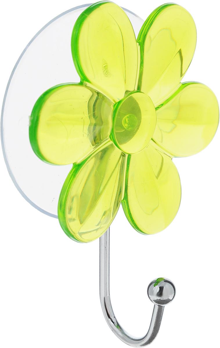 Крючок Top Star Цветок, на вакуумной присоске, цвет: зеленый, стальной, 6 х 3 х 10 см175332_цветок, салатовыйКрючок Top Star Цветок изготовлен из хромированной стали и украшен пластиковой вставкой в виде цветка. Крючок крепится к поверхности при помощи присоски. Для надежности крепления присоску необходимо устанавливать на гладкой, воздухонепроницаемой, очищенной и обезжиренной поверхности. Такой крючок прекрасно впишется в интерьер ванной комнаты и поможет эффективно организовать пространство.