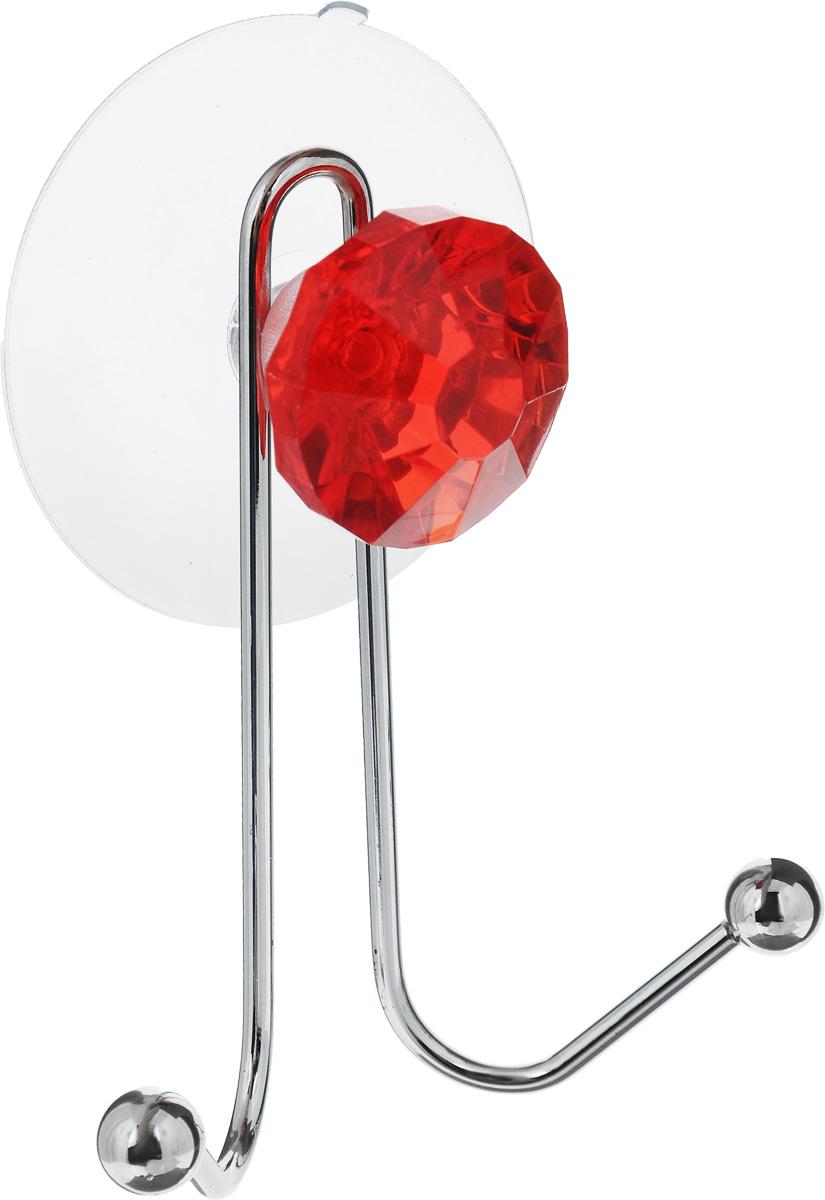 Крючок двойной Top Star Kristall, на вакуумной присоске, цвет: красный, стальной, 11 х 8 х 4,5 см280881_красныйКрючок Top Star Kristall изготовлен из хромированной стали и украшен пластиковой вставкой в виде кристалла. Крючок крепится к поверхности при помощи присоски. Для надежности крепления присоску необходимо устанавливать на гладкой, воздухонепроницаемой, очищенной и обезжиренной поверхности. Такой крючок прекрасно впишется в интерьер ванной комнаты и поможет эффективно организовать пространство.