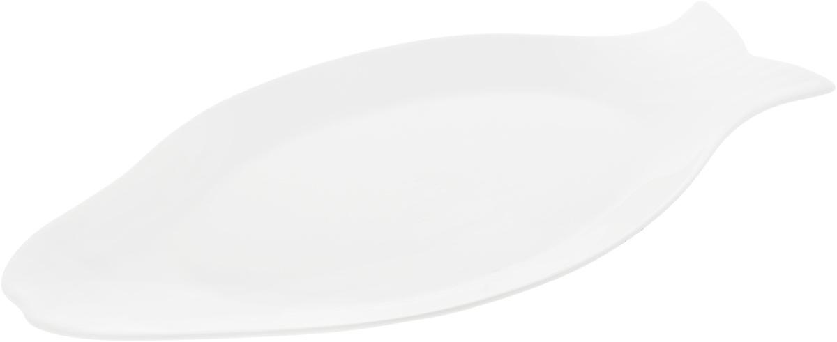 Блюдо Wilmax Рыбка, 46 х 22,7 смCM000001328Оригинальное блюдо Wilmax Рыбка, изготовленное из фарфора с глазурованным покрытием, прекрасно подойдет для подачи нарезок, закусок и других блюд. Оно украсит ваш кухонный стол, а также станет замечательным подарком к любому празднику.Размер блюда: 46 х 22,7 см.