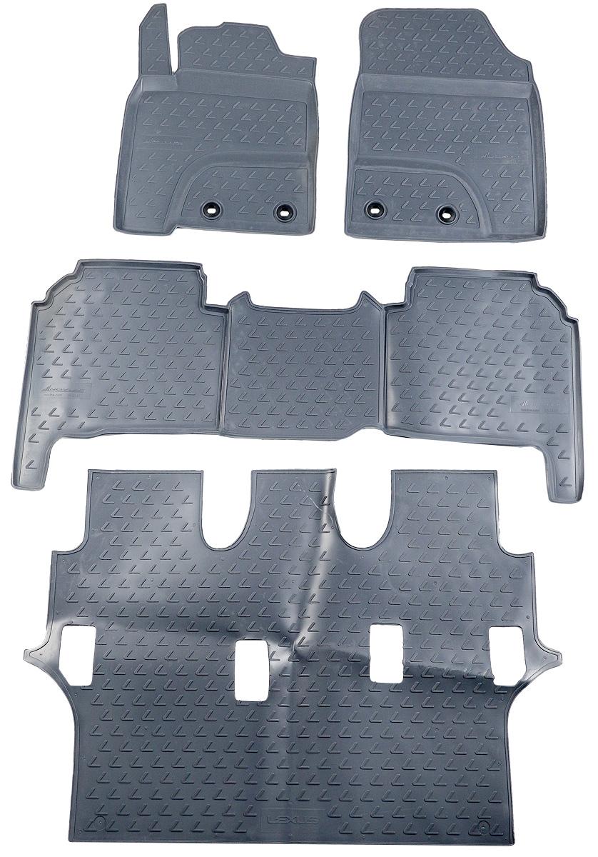 Коврики в салон автомобиля Novline-Autofamily, для Lexus LX570 2012-> 7 мест, 4 штNLC.29.23.211kКоврики в салон Novline-Autofamily не только улучшат внешний вид салона вашего автомобиля, но и надежно уберегут его от пыли, грязи и сырости, а значит, защитят кузов от коррозии. Полиуретановые коврики для автомобиля гладкие, приятные и не пропускают влагу. Автомобильные коврики в салон учитывают все особенности каждой модели и полностью повторяют контуры пола. Благодаря этому их не нужно будет подгибать или обрезать. И самое главное - они не будут мешать педалям. Полиуретановые автомобильные коврики для салона произведены из высококачественного материала, который держит форму и не пачкает обувь. К тому же, этот материал очень прочный (его, к примеру, не получится проткнуть каблуком). Некоторые автоковрики становятся источником неприятного запаха в автомобиле. С полиуретановыми ковриками Novline-Autofamily вы можете этого не бояться. Коврики для автомобилей надежно крепятся на полу и не скользят, что очень важно во время движения, особенно для водителя. ...