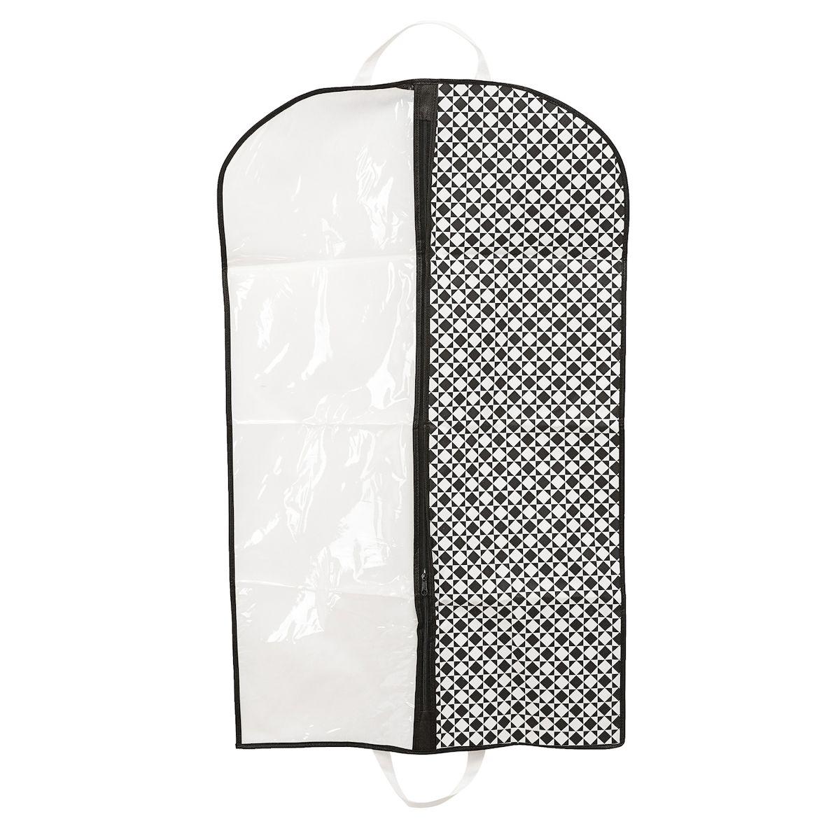 Чехол для одежды Homsu Maestro, подвесной, с прозрачной вставкой, 100 х 60 смHOM-388Подвесной чехол для одежды Homsu Maestro на застежке-молнии выполнен из высококачественного нетканого материала. Чехол снабжен прозрачной вставкой из ПВХ, что позволяет легко просматривать содержимое. Изделие подходит для длительного хранения вещей. Чехол обеспечит вашей одежде надежную защиту от влажности, повреждений и грязи при транспортировке, от запыления при хранении и проникновения моли. Чехол позволяет воздуху свободно поступать внутрь вещей, обеспечивая их кондиционирование. Это особенно важно при хранении кожаных и меховых изделий. Чехол для одежды Homsu Maestro создаст уютную атмосферу в гардеробе. Лаконичный дизайн придется по вкусу ценительницам эстетичного хранения и сделают вашу гардеробную изысканной и невероятно стильной. Размер чехла: 100 х 60 см.
