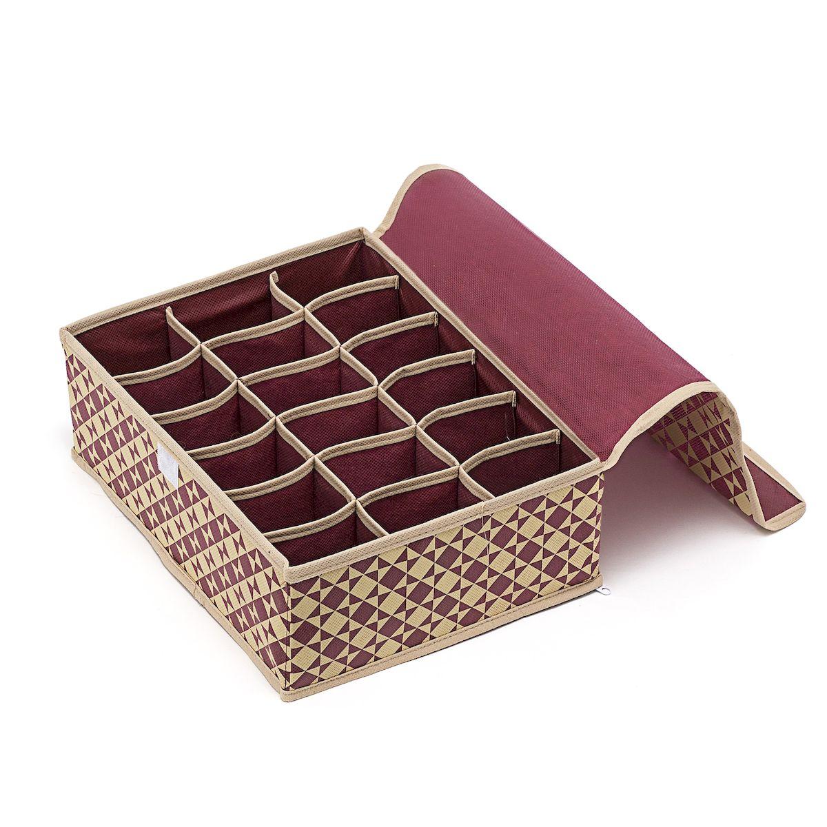 Органайзер для хранения вещей Homsu Bordo, 18 секций, 31 х 24 х 11 смHOM-391Компактный складной органайзер Homsu Bordo изготовлен из высококачественного полиэстера, который обеспечивает естественную вентиляцию. Материал позволяет воздуху свободно проникать внутрь, но не пропускает пыль. Органайзер отлично держит форму, благодаря вставкам из плотного картона. Изделие имеет 18 квадратных секций для хранения нижнего белья, колготок, носков и другой одежды. Закрывается крышкой на молнии. Такой органайзер позволит вам хранить вещи компактно и удобно, а оригинальный дизайн сделает вашу гардеробную красивой и невероятно стильной.