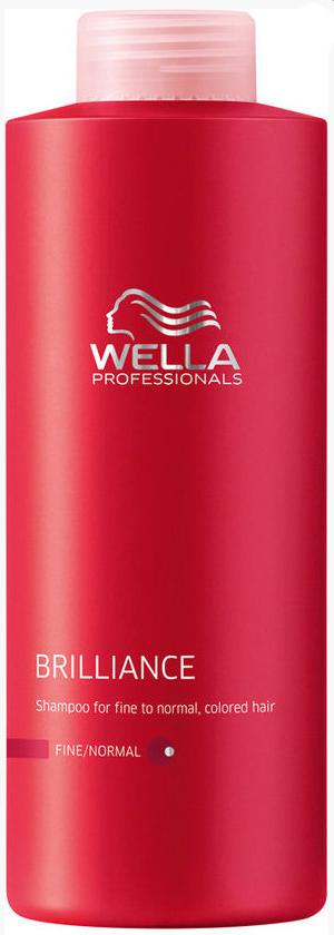 Wella Шампунь Brilliance Line для окрашенных нормальных и тонких волос, 1000 млFS-00103Шампунь Wella для окрашенных нормальных и тонких волос отлично тонизирует волосы и очищает их. Он имеет легкую формулу и насыщенную текстуру, благодаря чему равномерно распределяется по волосам, придавая сияющий блеск и яркость. Шампунь прекрасно защищает волосы от негативного воздействия окружающей среды, обеспечивает после окрашивания оптимальный уровень рН, смягчает и успокаивает кожу головы, поддерживает оптимальный водный баланс. Шампунь действует как антиоксидант, стимулирует рост волос, возвращает им упругость и силу, они становятся яркими и блестящими.Результат: с шампунем для окрашенных нормальных и тонких волос вы продлите блеск и сияние цвета, сделаете волосы более мягкими и послушными.В состав входят: бриллиантовая пыльца, Витамин Е, глиоксиловая кислота, экстракт орхидеи.