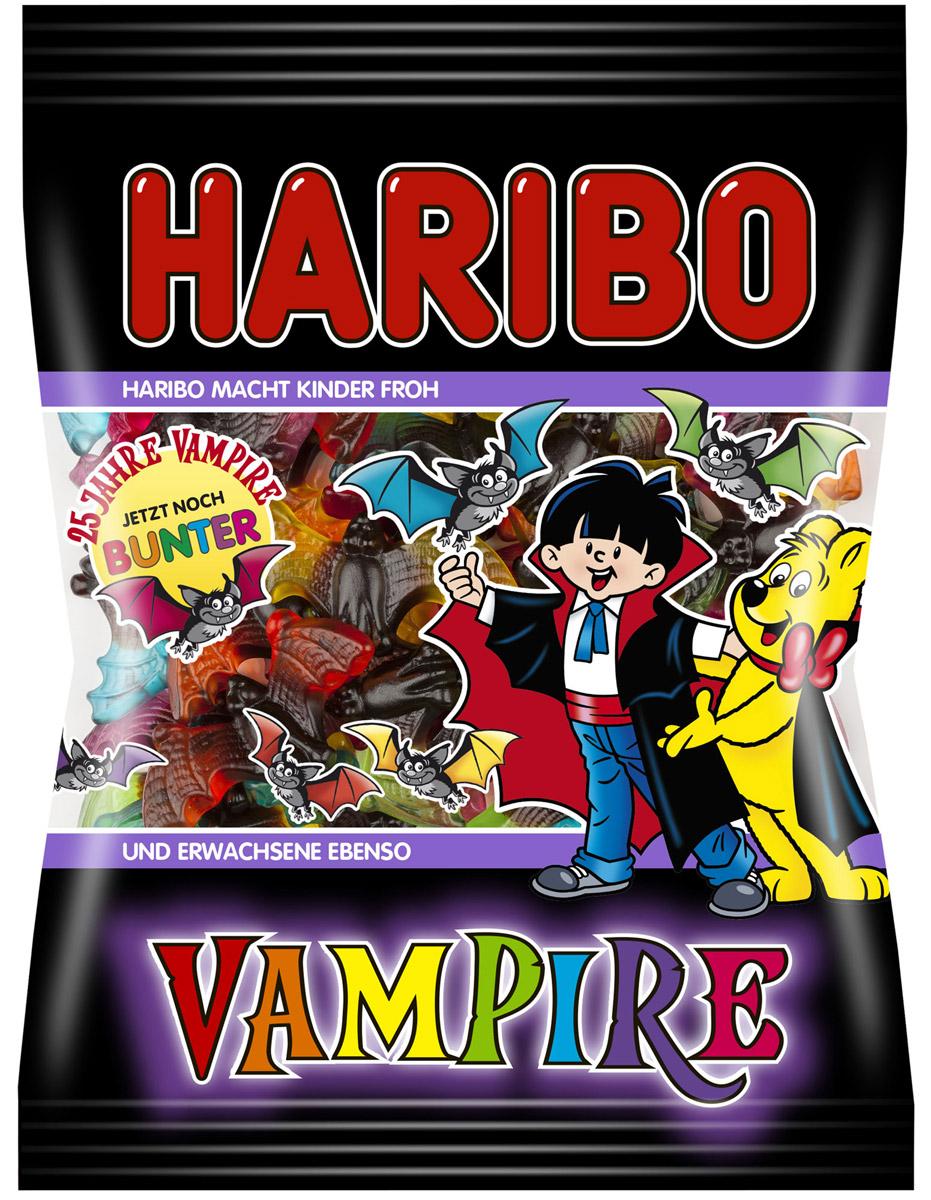 Haribo Vampire жевательный мармелад, 200 г0120710А сейчас будет страшно! Страшно вкусно!Вампиры от Haribo - это интересное сочетание пряной лакрицы и фруктового жевательного мармелада. А теперь в новой, еще более красочной упаковке и новыми потрясающими вкусами: апельсин, лимон, яблоко, клубника, малина, черника!
