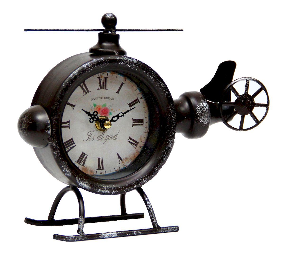 Часы настольные Magic Home Вертолет, кварцевые, цвет: черный54 009303Настольные кварцевые часы Magic Home Вертолет изготовлены из металла черного цвета, циферблат из черного металла с покрытием из принтованной бумаги. Настольные часы Magic Home Вертолет прекрасно оформят интерьер дома или рабочий стол в офисе.Часы работают от одной батарейки типа АА мощностью 1,5V (не входит в комплект).