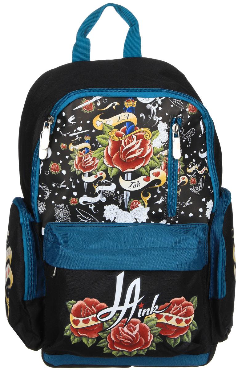 Action! Рюкзак детский La Ink цвет черный темно-бирюзовыйDI-AB11033/1Детский рюкзак Action! La Ink - это красивый и удобный рюкзак, который подойдет всем, кто хочет разнообразить свои будни. Рюкзак выполнен из полиэстера. Изделие имеет одно основное вместительное отделение, которое закрывается на застежку-молнию с двумя бегунками. Внутри отделения карманов нет. На лицевой стороне расположены два кармана на молниях. По бокам рюкзака находятся два кармана на застежках-молниях. Рюкзак оснащен удобной текстильной ручкой для переноски. Светоотражающие элементы обеспечивают безопасность в местах движения автомобилей и помогут пересечь проезжую часть в сумерки или темное время суток. Улучшенная спинка с выпуклыми рельефными вставками создана для комфортного ношения на спине. Широкие лямки можно регулировать по длине. Этот рюкзак можно использовать для повседневных прогулок, учебы, отдыха и спорта, а также как элемент вашего имиджа.