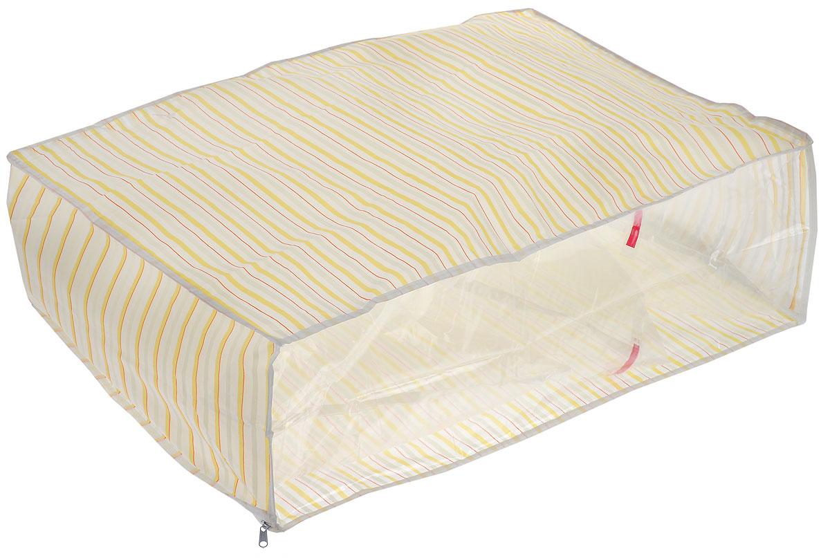 Чехол для хранения Eva, цвет: оранжевый, желтый, 60 х 40 х 20 смЕ-5201_желтый, красный, белыйУдобный чехол на застежке-молнии Eva изготовлен из прочного, водонепроницаемого, легкого в уходе материала PEVA. Он обеспечит надежное хранение вашей одежды и различных вещей, защитит от повреждений, пыли, грязи и UV- излучений во время хранения и транспортировки. Изделие оснащено прозрачной стенкой, благодаря которой вы без труда определите содержимое чехла. Изделие можно стирать при температуре до 40°C.