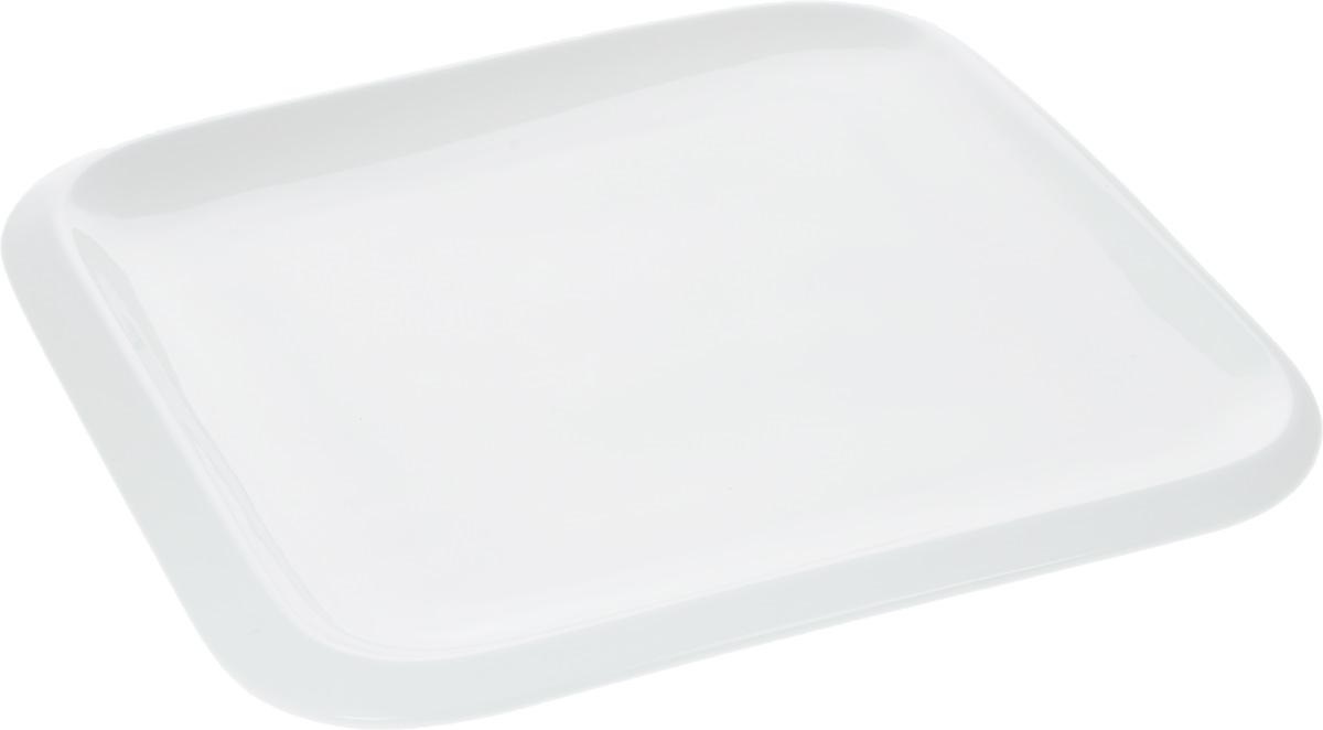 Тарелка Wilmax, 25,5 х 25,5 см115510Оригинальная квадратная тарелка Wilmax изготовлена из фарфора с глазурованным покрытием. Фарфор от Wilmax изготовлен по уникальному рецепту из сплава магния и алюминия, благодаря чему посуда обладает характерной белизной, прочностью и устойчивостью к сколами. Особый состав глазури обеспечивает гладкость и блеск поверхности изделия.Изделие сочетает в себе изысканный дизайн с максимальной функциональностью. Тарелка прекрасно впишется в интерьер вашей кухни и станет достойным дополнением к кухонному инвентарю. Можно мыть в посудомоечной машине и использовать в микроволновой печи. Изделие пригодно для использования в духовых печах и выдерживает температуру до 300°С.