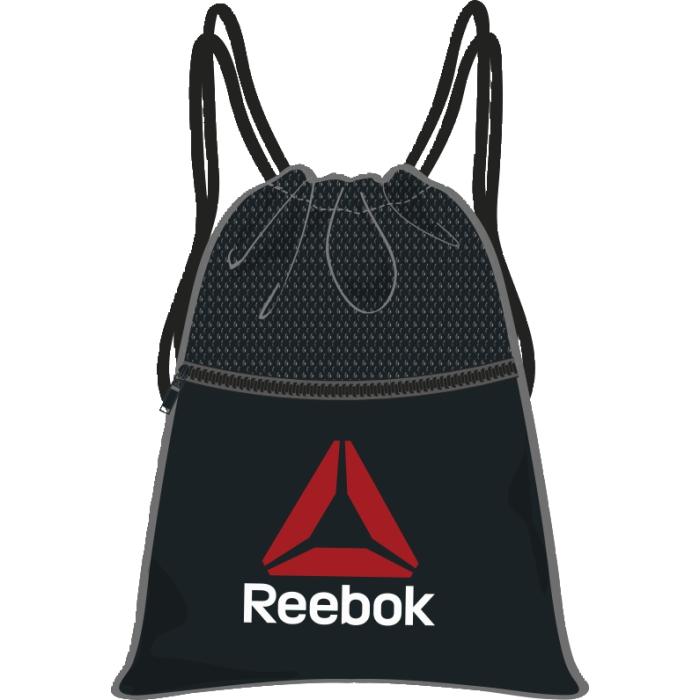 Рюкзак спортивный Reebok Lin Per Gymbag, цвет: черный. AO0397AO0397Спортивный рюкзак выполнен из прочного полиэстера. Модель застегивается на регулируемый шнурок для комфорта. Карман спереди на молнии для хранения мелочей.
