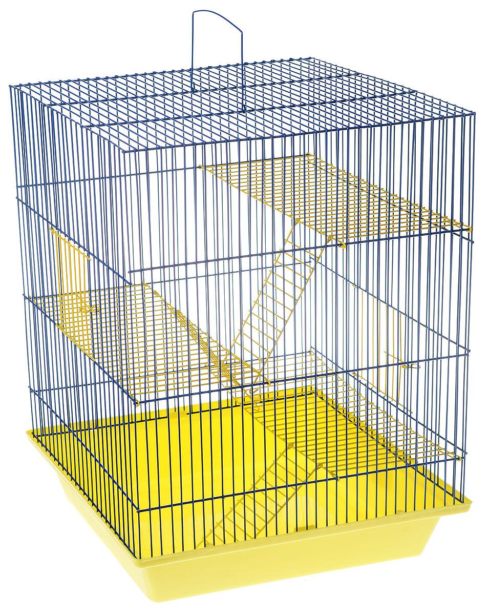 Клетка для грызунов ЗооМарк Гризли, 4-этажная, цвет: желтый поддон, синяя решетка, желтые этажи, 41 х 30 х 50 см. 240ж240ж_желтый, синийКлетка ЗооМарк Гризли, выполненная из полипропилена и металла, подходит для мелких грызунов. Изделие четырехэтажное. Клетка имеет яркий поддон, удобна в использовании и легко чистится. Сверху имеется ручка для переноски. Такая клетка станет уединенным личным пространством и уютным домиком для маленького грызуна.