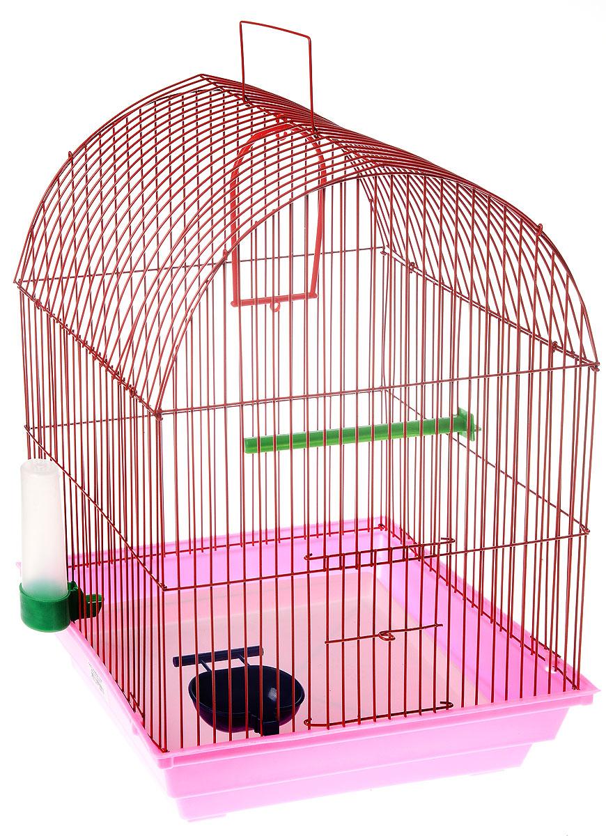 Клетка для птиц ЗооМарк, цвет: розовый поддон, красная решетка, 35 х 28 х 45 см440_розовый, красныйКлетка ЗооМарк, выполненная из полипропилена и металла, предназначена для мелких птиц. Вы можете поселить в нее одну или две птицы. Изделие состоит из большого поддона и решетки. Клетка снабжена металлической дверцей, которая открывается и закрывается движением вверх-вниз. В основании клетки находится малый поддон. Клетка удобна в использовании и легко чистится. Она оснащена жердочкой, кольцом для птицы, кормушкой, поилкой и подвижной ручкой для удобной переноски. Комплектация: - клетка с поддоном, - малый поддон; - кормушка; - поилка; - кольцо.
