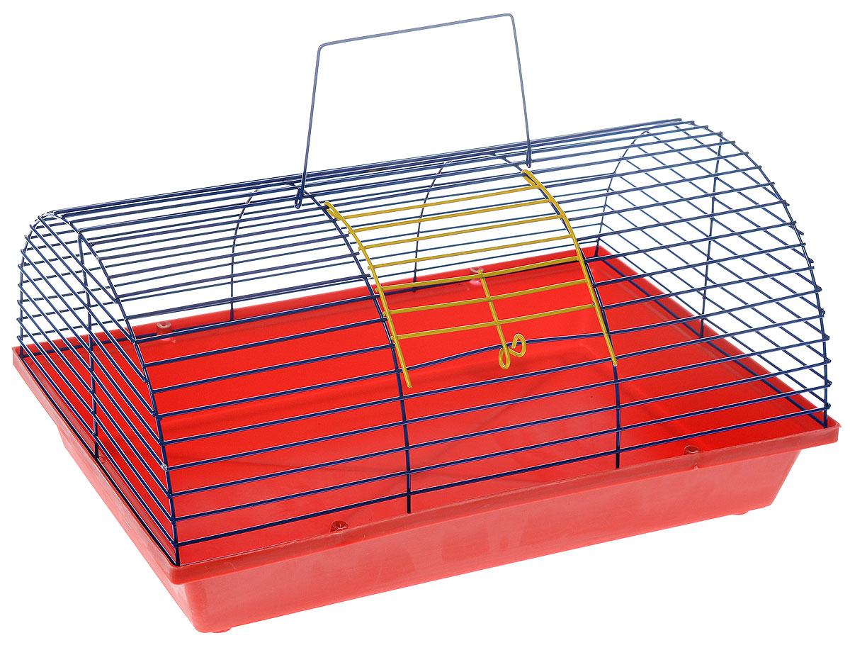 Клетка для грызунов ЗооМарк, цвет: красный поддон, синяя решетка, 36 х 23 х 17,5 см0120710Клетка ЗооМарк, выполненная из полипропилена и металла, подходит для мелких грызунов. Она имеет яркий поддон, удобна в использовании и легко чистится. Сверху имеется ручка для переноски.Такая клетка станет уединенным личным пространством и уютным домиком для маленького грызуна.