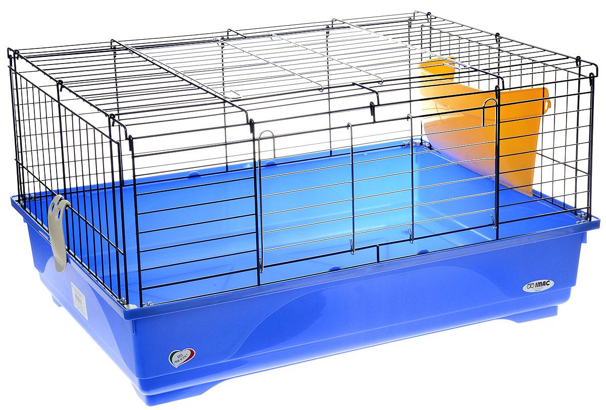 Клетка для грызунов Imac Easy 80, цвет: синий поддон, черная решетка, желтый сенник, 80 х 48,5 х 42 см8021799403669Просторная клетка Imac Imac Easy 80, выполненная из пластика и металла, подходит для средних и крупных грызунов. Изделие оборудовано сенником. Клетка имеет яркий поддон, удобна в использовании и легко чистится. Такая клетка станет уединенным личным пространством и уютным домиком для маленького грызуна.