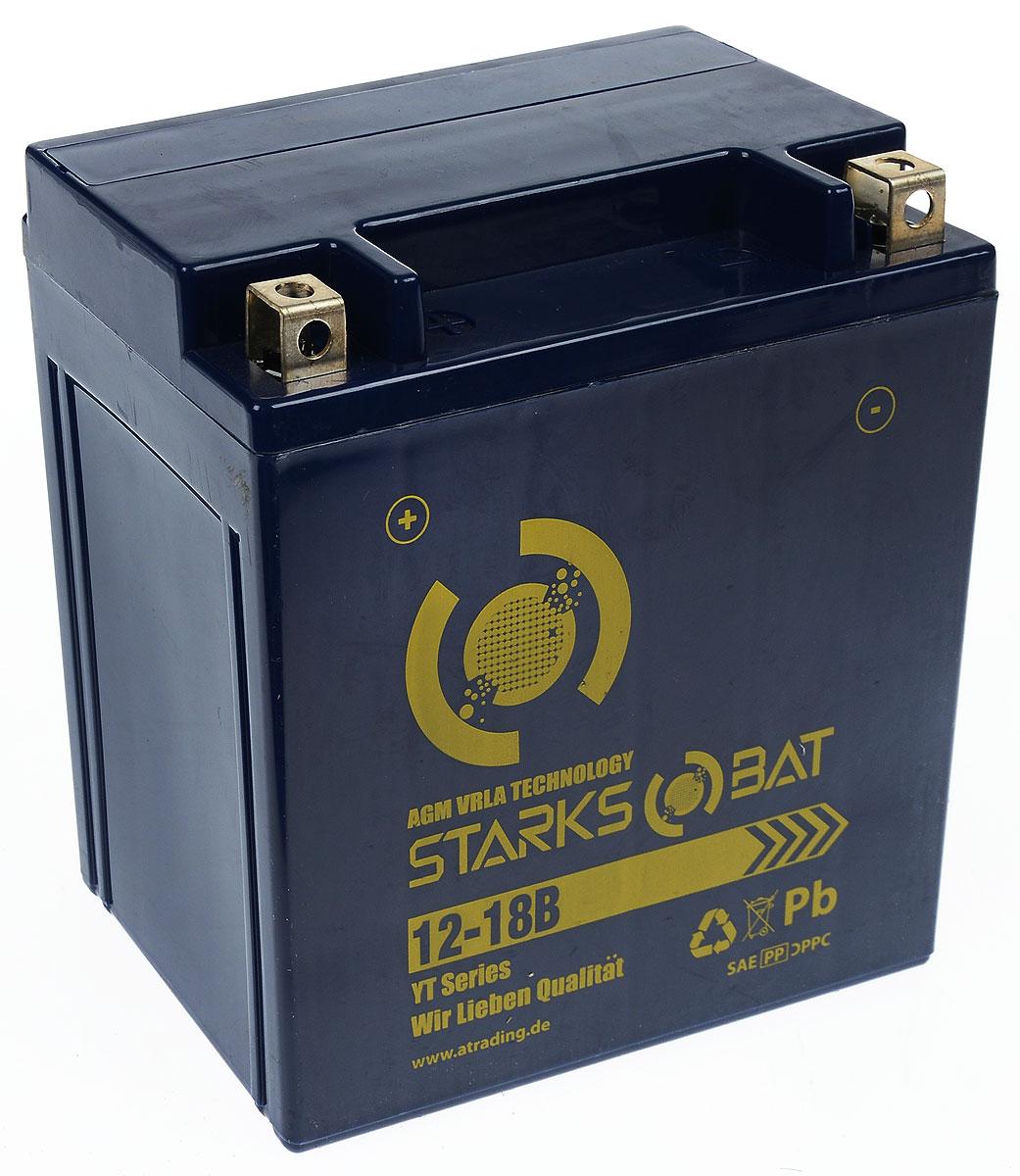 Батарея аккумуляторная для мотоциклов Starksbat. YT12-18В (YTX20CH-BS)YT 12-18ВАккумулятор Starksbat изготовлен по технологии AGM, обеспечивающей повышенный уровень безопасности батареи и удобство ее эксплуатации. Корпус выполнен из особо ударопрочного и морозостойкого полипропилена. Аккумулятор блестяще доказал свои высокие эксплуатационные свойства в самых экстремальных условиях бездорожья, высоких и низких температур. Аккумуляторная батарея Starksbat производится под знаменитым немецким контролем качества, что обеспечивает ему высокие пусковые характеристики и восстановление емкости даже после глубокого разряда. Напряжение: 12 В. Емкость: 18 Ач. Полярность: прямая (+ -). Ток холодной прокрутки: 290 Аh (EN).