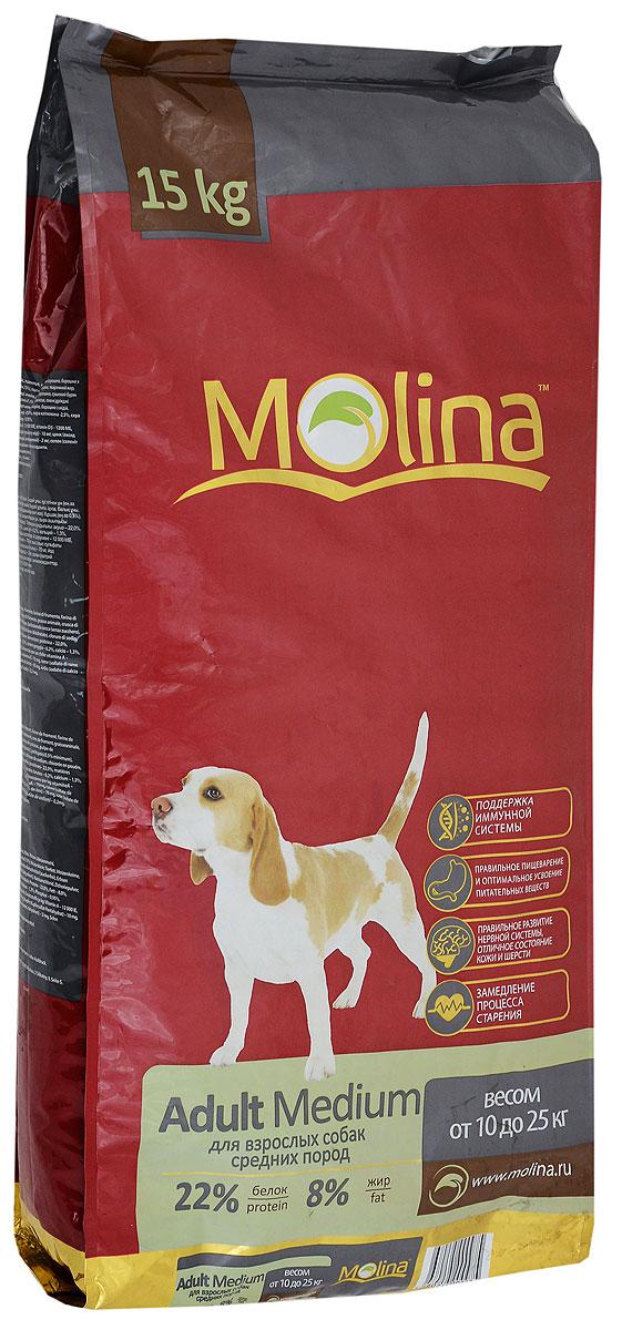 Корм сухой Molina Adult Medium для взрослых собак средних пород, 15 кг4680265000975Полнорационный сухой корм Molina Adult Medium предназначен для взрослых собак средних пород весом от 10 до 25 кг. Специальный комплекс витаминов и антиоксидантов способствует поддержанию иммунитета, замедляет процесс старения и защищает от последствий стресса. Содержание жирных кислот Омега-6 и Омега-3 обеспечивает правильное развитие нервной системы и отличное состояние кожи и шерсти. Вкусовая формула и состав корма позволяют оптимально усваивать питательные вещества. Товар сертифицирован.