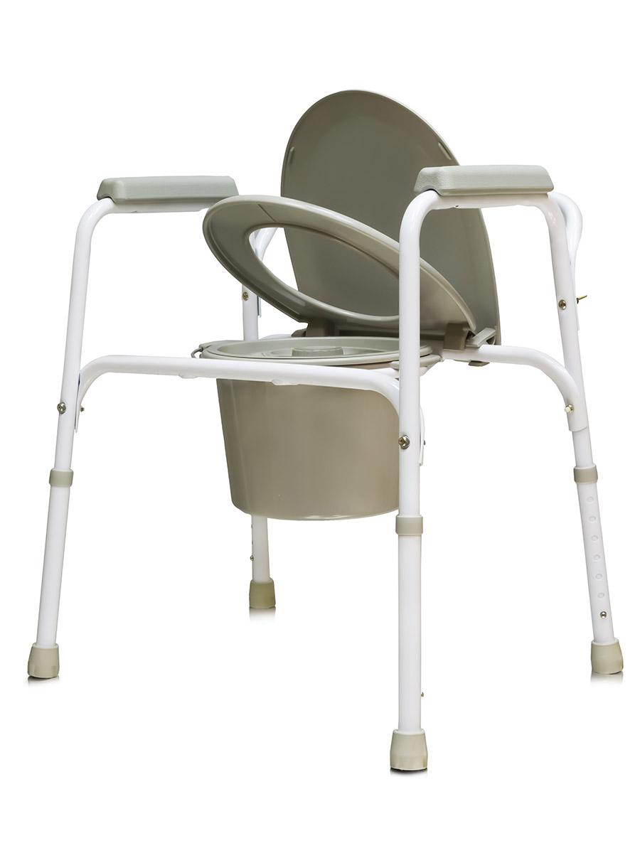 Amrus Кресло-туалет стальное со спинкой, регулируемое по высоте AMCB6803AMCB6803Характеристики: Регулируемая высота сиденья, регулируемые ножки с противоскользящими резиновыми наконечниками; Шаг регулировки 2,5см.; Размеры (ШхГхВ) сиденья от пола 450х440х410- мм.; Максимальная статическая нагрузка 100 кг.; Масса не более 6,0 кг.; Срок службы не менее 5 лет; Срок действия гарантии 12 мес.; Масса не более 5,8 кг. Модель может применяться как кресло-туалет, насадка на унитаз или поручень для унитаза. Рама изготовлена из стали с порошковым напылением.