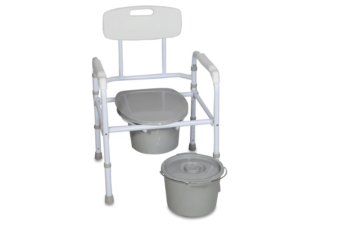 Amrus Кресло-туалет складное со спинкой, регулируемое по высоте AMCB6806AMCB6806Характеристики: Регулируемая высота сиденья, регулируемые ножки с противоскользящими резиновыми наконечниками; Шаг регулировки: 2,5 см.; Размеры (ШхГхВ) сиденья от пола 475х410х400-500 мм.; Максимальная статическая нагрузка 100 кг.; Масса не более 4,7 кг.; Срок службы не менее 5 лет; Срок действия гарантии – 12 мес.; Масса не более 4,7 кг. Складная модель может применяться как кресло-туалет и поручень для унитаза. Рама изготовлена из стали.