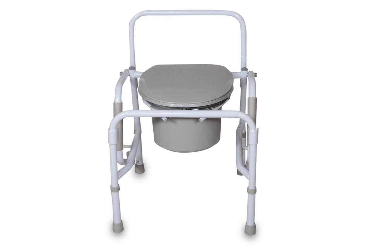 Amrus Кресло-туалет с опускающимися подлокотниками со спинкой, регулируемое по высоте AMCB68070001496Характеристики: Регулируемая высота сиденья, регулируемые ножки с противоскользящими резиновыми наконечниками; Шаг регулировки: 2,5 см.;Размеры (ШхГхВ) сиденья от пола 460х480х480-580 мм.; Максимальная статическая нагрузка 100 кг.; Масса кресла-туалета, не более 9,0 кг.Модель оснащена откидными вниз поручнями с мягкими подлокотниками.