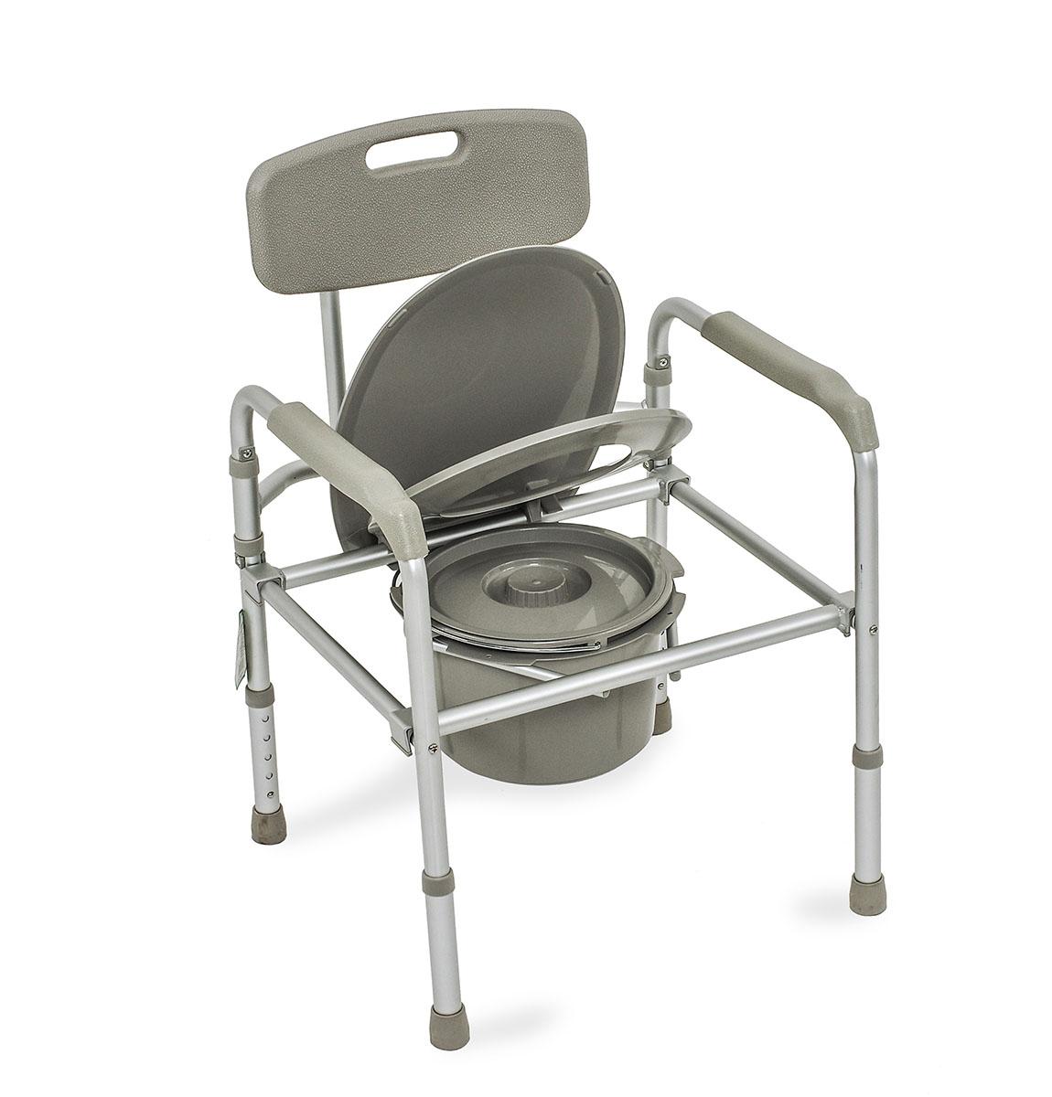 Amrus Кресло-туалет облегченное со спинкой, регулируемое по высоте AMCB6808AMCB6808Характеристики: Регулируемая высота сиденья, регулируемые ножки с противоскользящими резиновыми наконечниками; Шаг регулировки: 2,5 см.; Размеры (ШхГхВ) сиденья от пола 420х430х360-460 мм.; Максимальная статическая нагрузка 100 кг.; Срок службы не менее 5 лет; Срок действия гарантии – 12 месяцев с даты продажи; Масса не более 5,4 кг. Cкладная модель с каркасом из алюминия, с пластиковой спинкой.