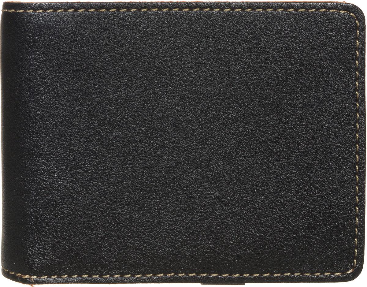 Портмоне мужское Fabula Kansas, цвет: черный. PM.16.TXFICE 8508Стильное мужское портмоне Fabula Kansas изготовлено из натуральной кожи и оформлено контрастной отделочной строчкой.Изделие раскладывается пополам, закрывается на кнопку. Внутри расположены два прорезных потайных кармана, отделение для купюр, отдельный блок на два кармашка для SIM-карт, который закрывается хлястиком на кнопку. Снаружи, на задней стороне изделия, расположен карман для мелочи, закрывающийся на скрытую молнию. Изделие поставляется в фирменной упаковке.Практичное портмоне непременно подойдет к вашему образу и порадует простотой, стилем и функциональностью.