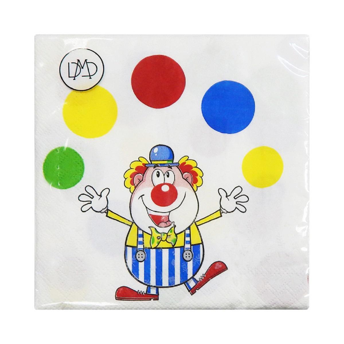 Бумажные салфетки DMD Клоун, 33х33 см, три слоя, 20 шт15466Для бытового и санитарно-гигиенического назначения одноразового использования.
