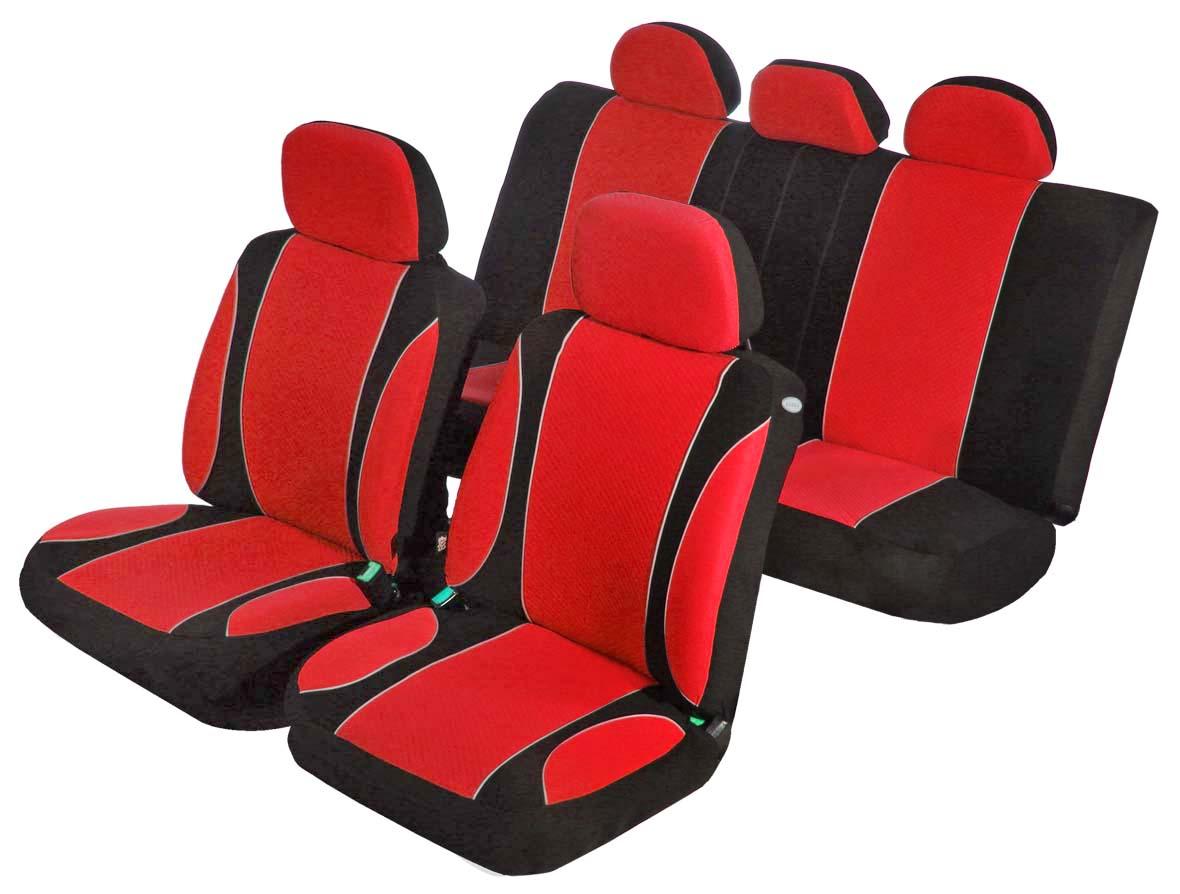 Чехлы на автомобильное кресло Azard Sky Jet, универсальные, 11 предметов, цвет: красныйAV021163Универсальные чехлы из автомобильного велюра. Применимы для 95% легкового автопарка РФ. Благодаря особому крою типа В чехлы идеально облегают сидения автомобиля. Специальный боковой шов позволяет применять авто чехлы в автомобилях с боковыми подушками безопасности (AIR BAG). Раздельная схема надевания обеспечивает легкую установку авто чехлов. Дополнительное удобство создает наличие предустановленных крючков, утягивающего шнура, фиксирующей липучки на передних спинках, а также предустановленной прорези для установки подголовника. Материал триплирован огнеупорным поролоном 3 мм, за счет чего чехол приобретает дополнительную мягкость и устойчивость к возгоранию. Авточехлы AZARD Велюр Sky Jet износоустойчивы и легко стирается в стиральной машине.