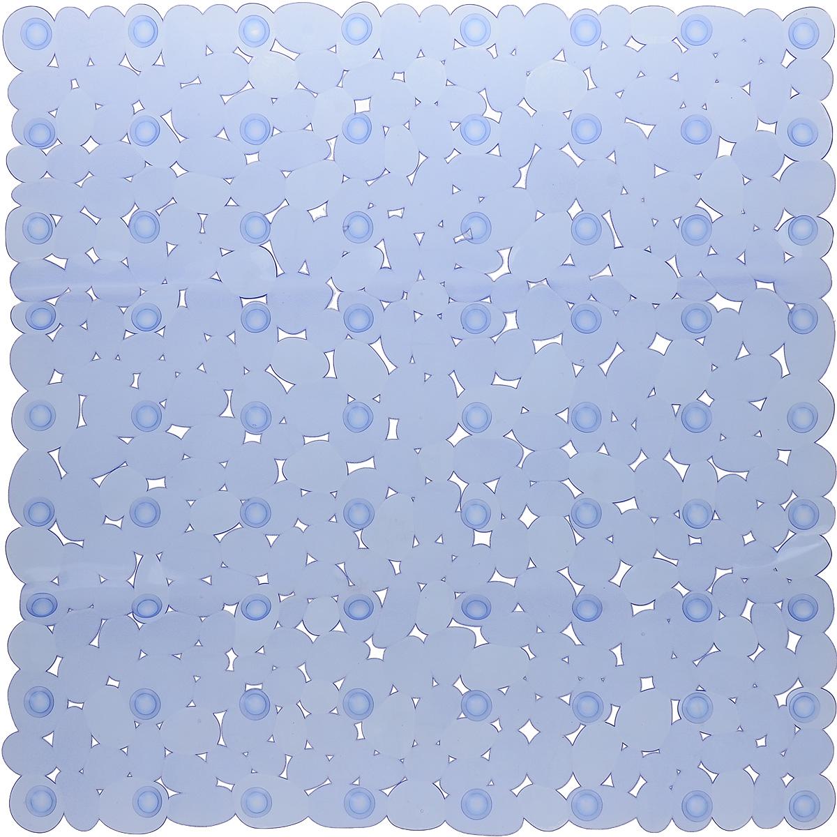 Коврик для ванной Axentia Галька, противоскользящий, на присосках, цвет: синий, 52 х 52 см106-029Квадратный коврик для ванной Axentia Галька изготовлен из ПВХ. Это прочный противоскользящий материал, который отлично подойдет для помещений с повышенной влажностью. Коврик противоскользящий, поэтому его удобно использовать в душевой кабине или ванне. Крепится к поверхности при помощи на присосок. Легко моется и не оставляет следов.