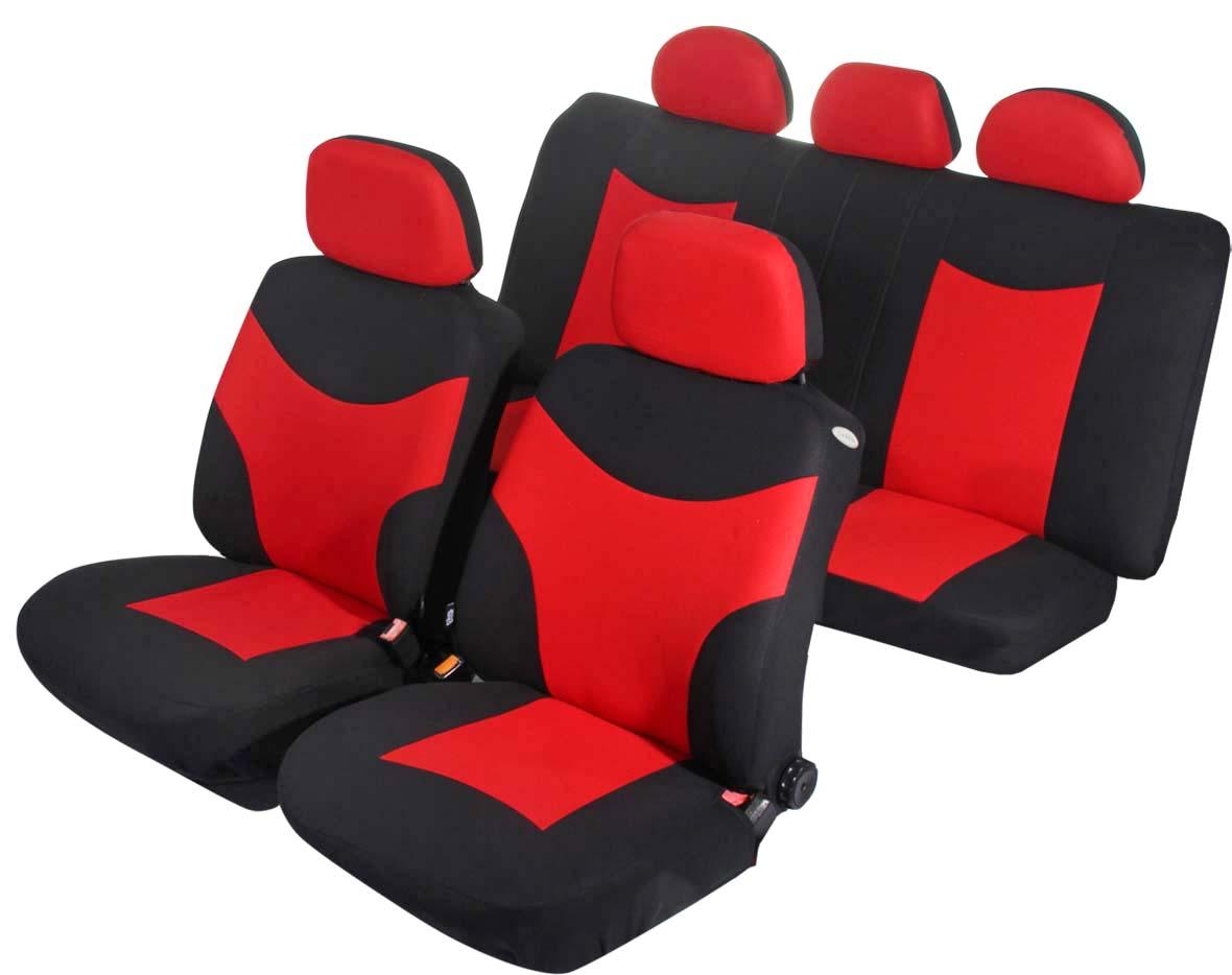 Чехлы на автомобильное кресло Azard Runner, универсальные, 11 предметов, цвет: красныйAP031132Универсальные чехлы из плотного полиэстера. Применимы для 95% легкового автопарка РФ. Благодаря особому крою типа «В» чехлы идеально облегают сидения автомобиля. Специальный боковой шов позволяет применять авто чехлы в автомобилях с боковыми подушками безопасности (AIR BAG). Раздельная схема надевания обеспечивает легкую установку авто чехлов. Дополнительное удобство создает наличие предустановленных крючков, утягивающего шнура, фиксирующей липучки на передних спинках, а также предустановленной прорези для установки подголовника. Материал триплирован огнеупорным поролоном 3 мм, за счет чего чехол приобретает дополнительную мягкость и устойчивость к возгоранию. Авточехлы Azard Полиэстер Runner износоустойчивы и легко стирается в стиральной машине.